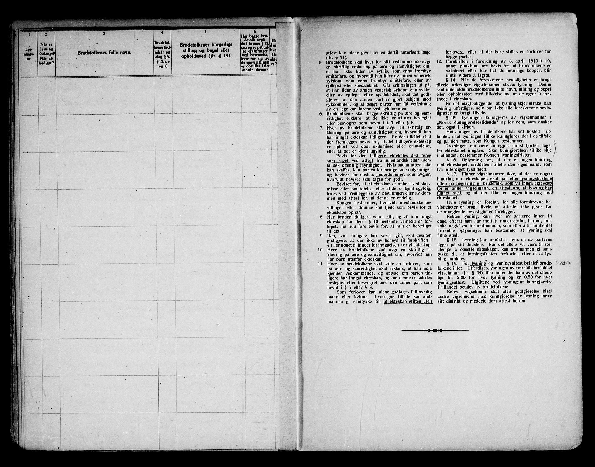 SAKO, Notodden kirkebøker, H/Ha/L0001: Lysningsprotokoll nr. 1, 1919-1945