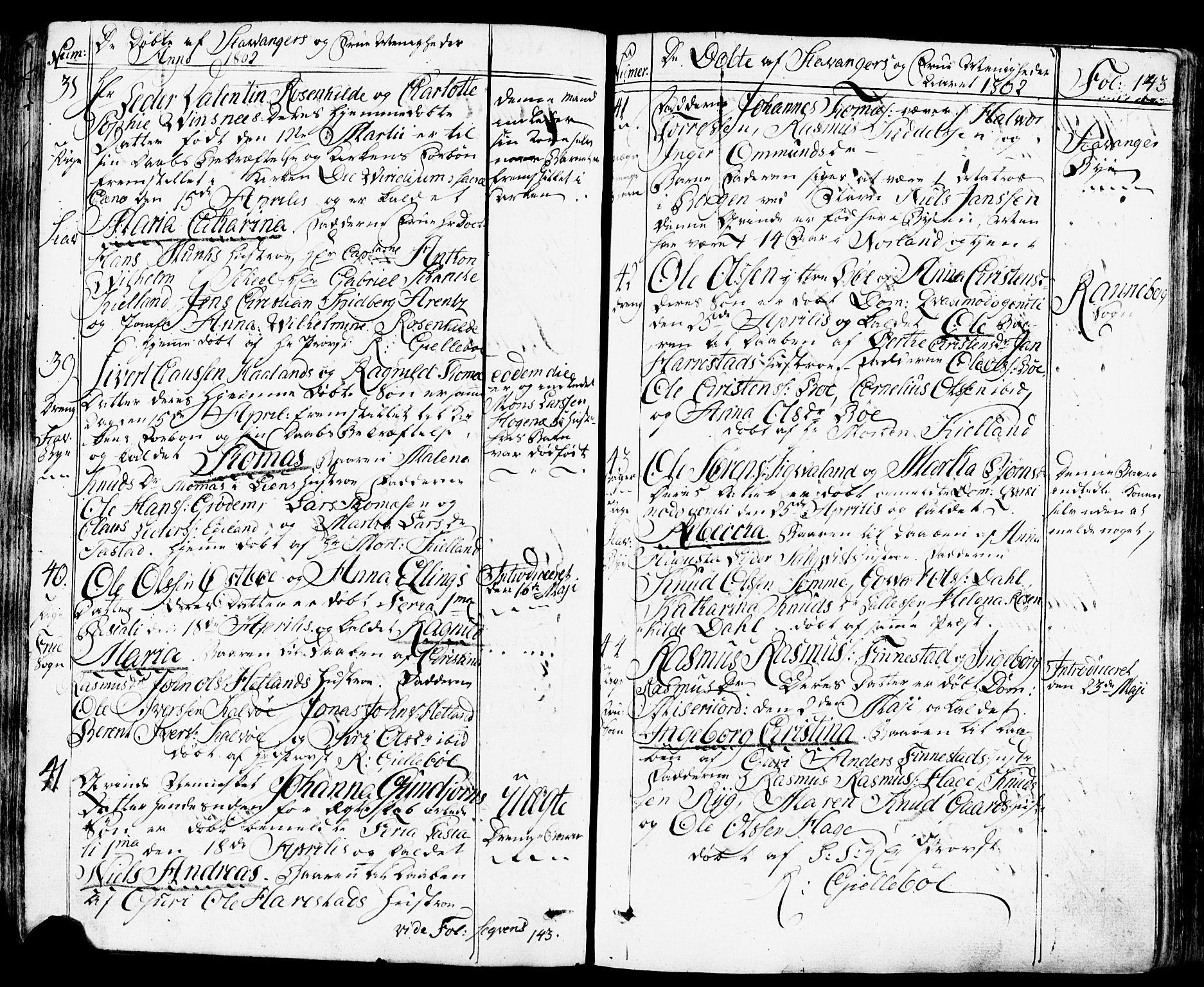 SAST, Domkirken sokneprestkontor, 30/30BB/L0007: Klokkerbok nr. B 7, 1791-1813, s. 143