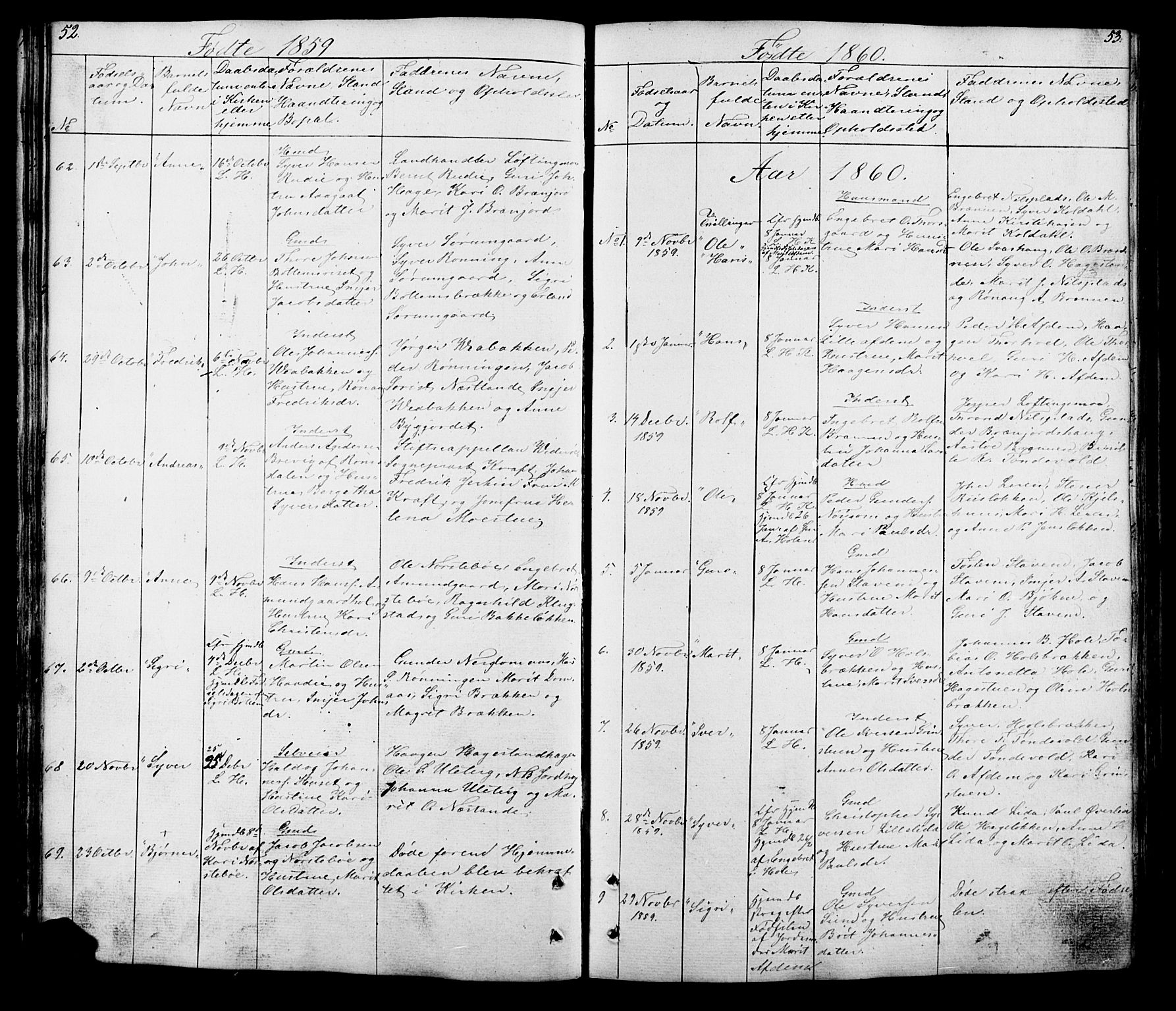 SAH, Lesja prestekontor, Klokkerbok nr. 5, 1850-1894, s. 52-53