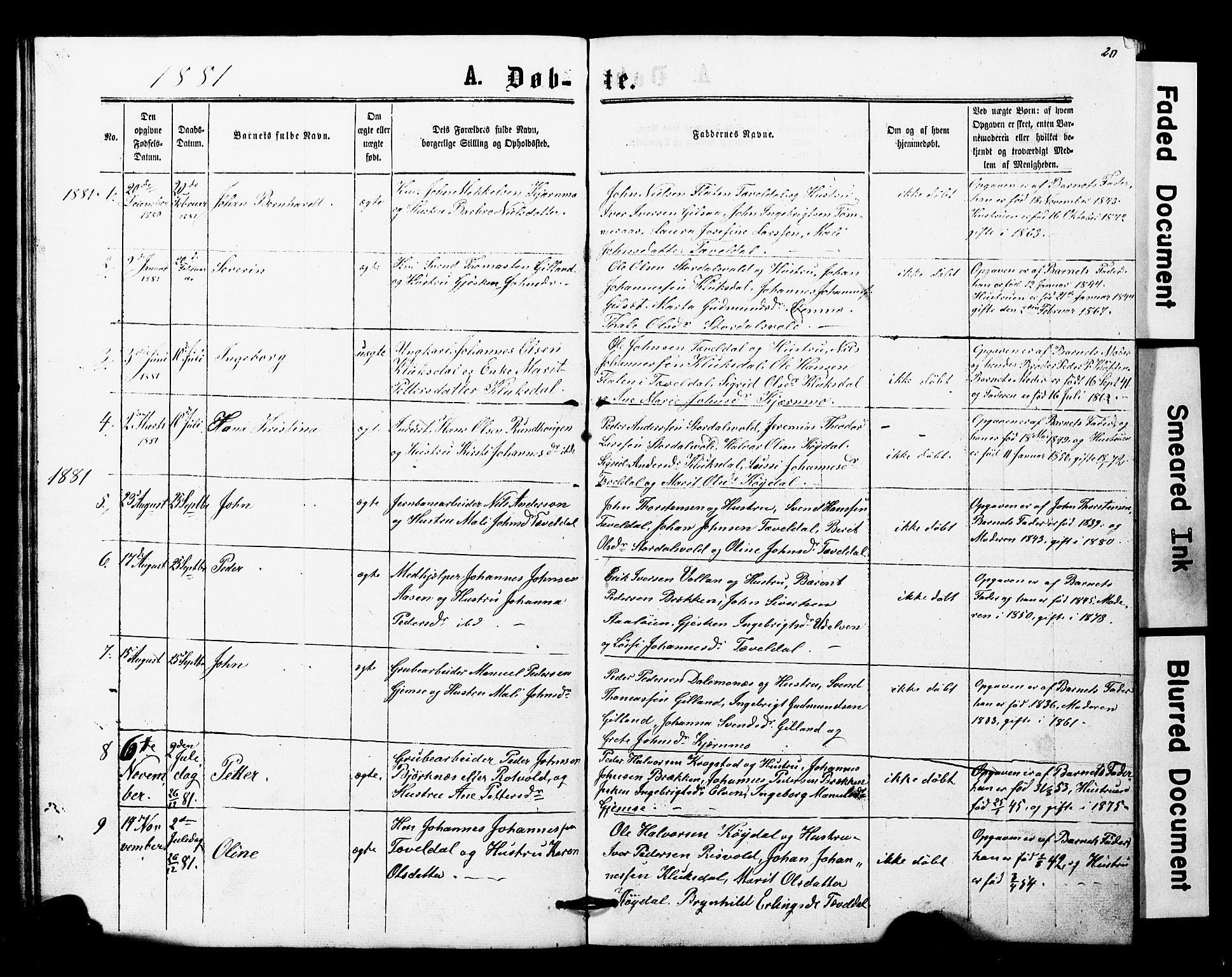 SAT, Ministerialprotokoller, klokkerbøker og fødselsregistre - Nord-Trøndelag, 707/L0052: Klokkerbok nr. 707C01, 1864-1897, s. 20