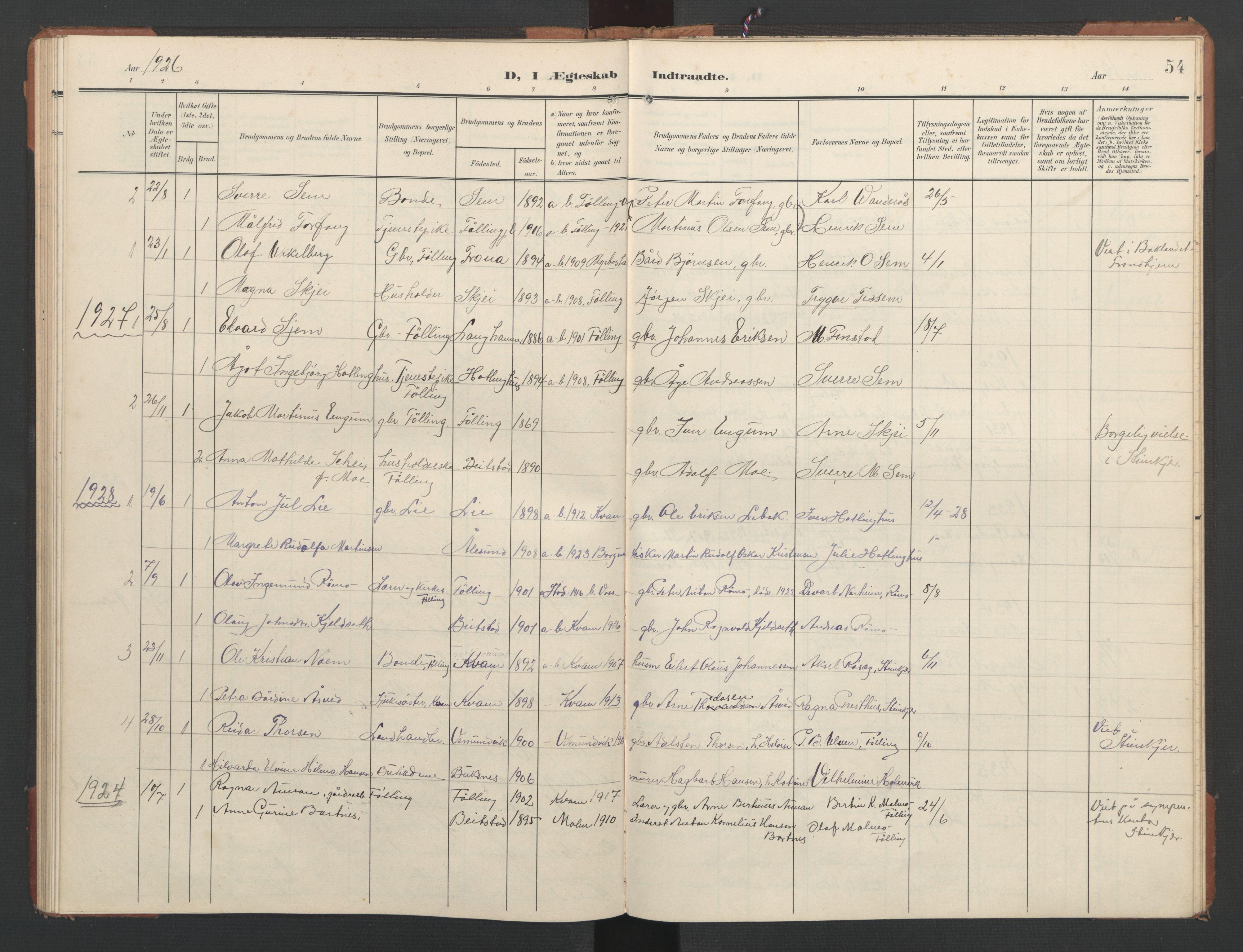SAT, Ministerialprotokoller, klokkerbøker og fødselsregistre - Nord-Trøndelag, 748/L0465: Klokkerbok nr. 748C01, 1908-1960, s. 54