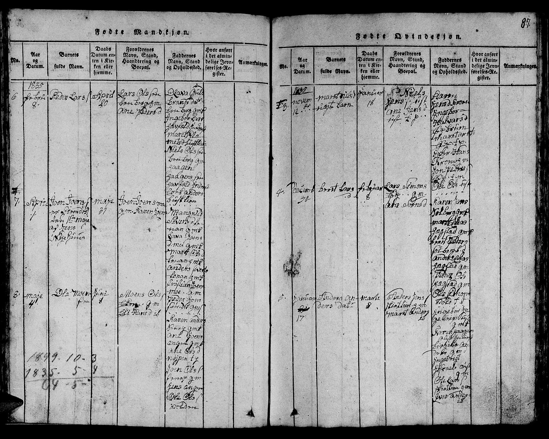 SAT, Ministerialprotokoller, klokkerbøker og fødselsregistre - Sør-Trøndelag, 613/L0393: Klokkerbok nr. 613C01, 1816-1886, s. 87