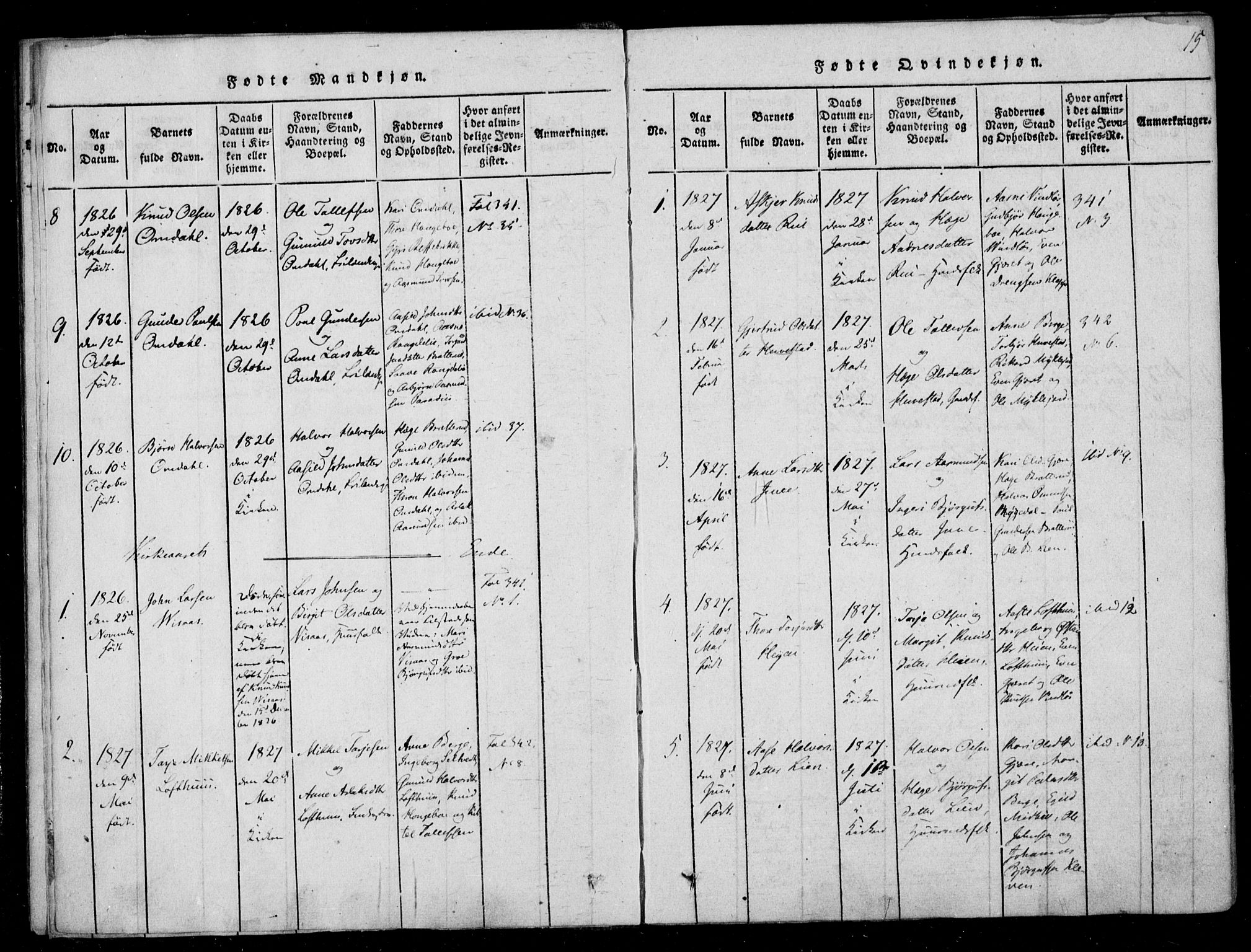 SAKO, Lårdal kirkebøker, F/Fb/L0001: Ministerialbok nr. II 1, 1815-1860, s. 15