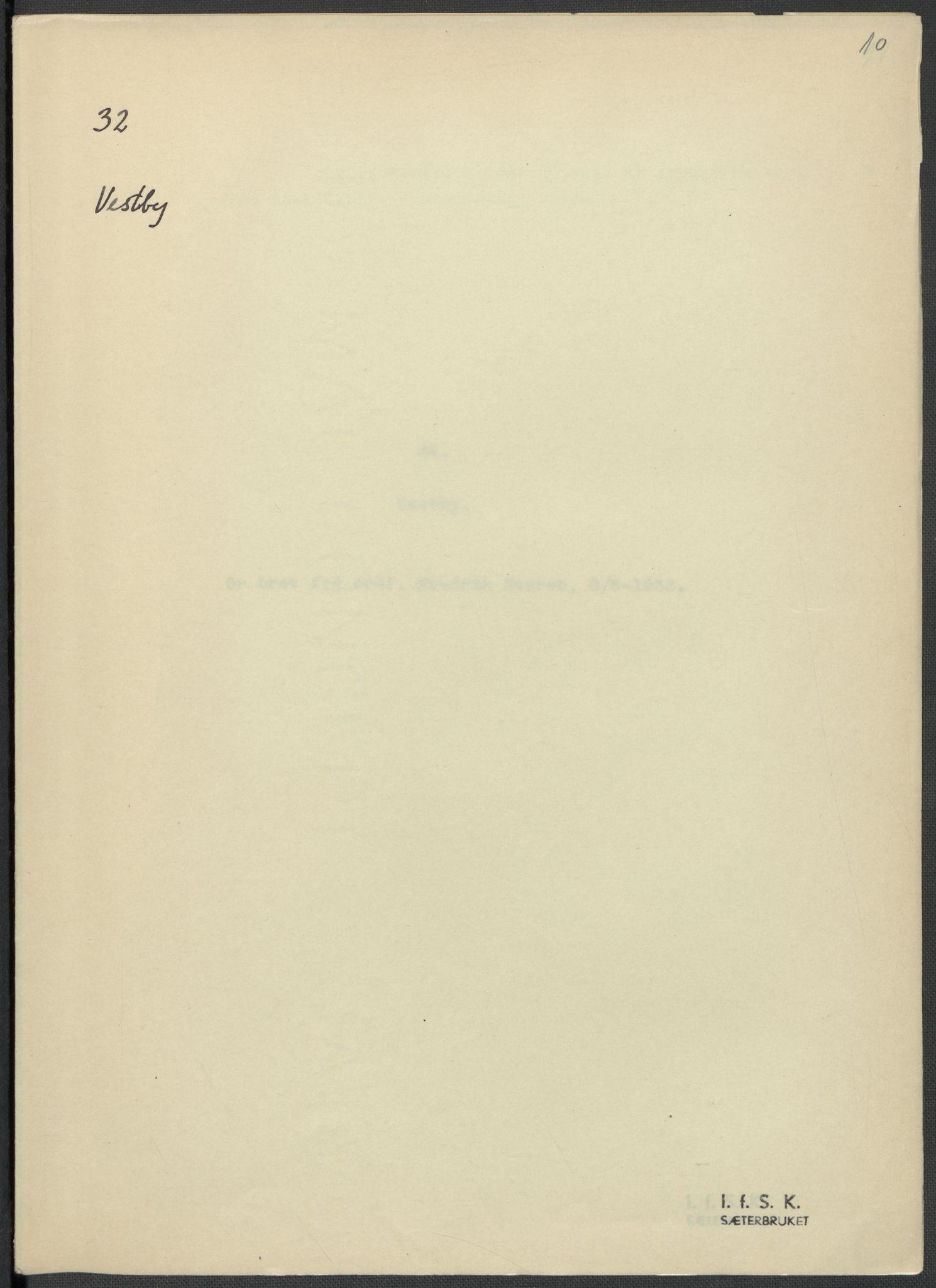RA, Instituttet for sammenlignende kulturforskning, F/Fc/L0002: Eske B2:, 1932-1936, s. 10