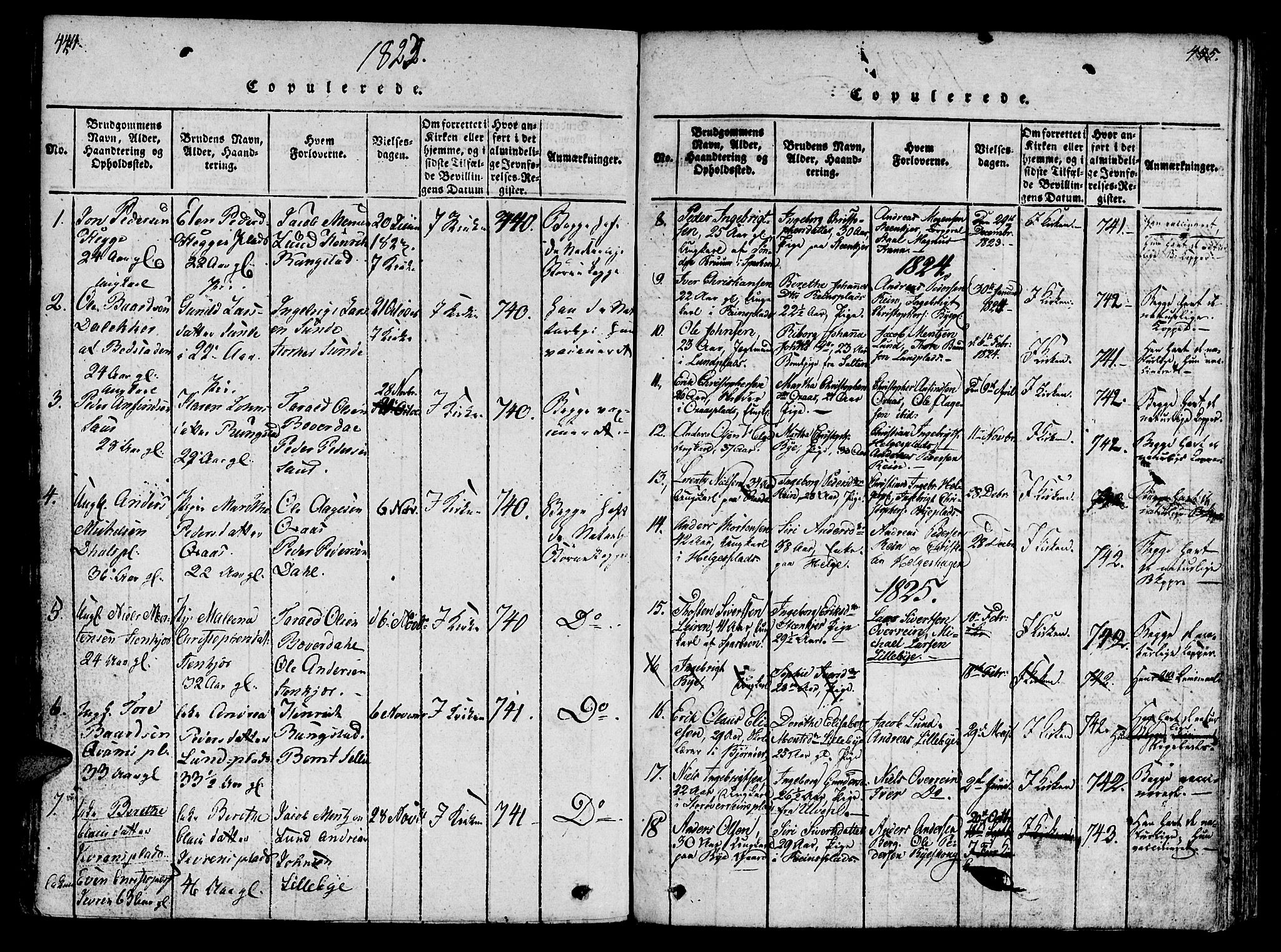 SAT, Ministerialprotokoller, klokkerbøker og fødselsregistre - Nord-Trøndelag, 746/L0441: Ministerialbok nr. 736A03 /3, 1816-1827, s. 444-445