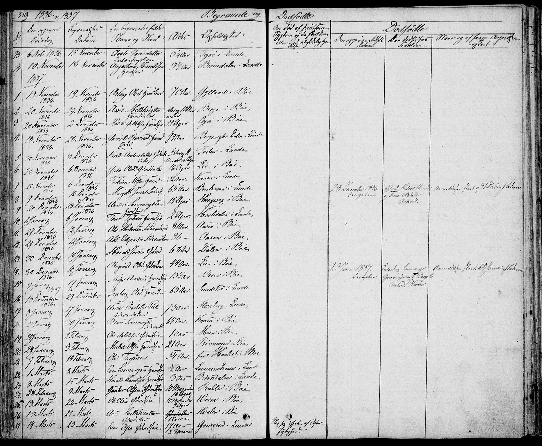 SAKO, Bø kirkebøker, F/Fa/L0007: Ministerialbok nr. 7, 1831-1848, s. 319
