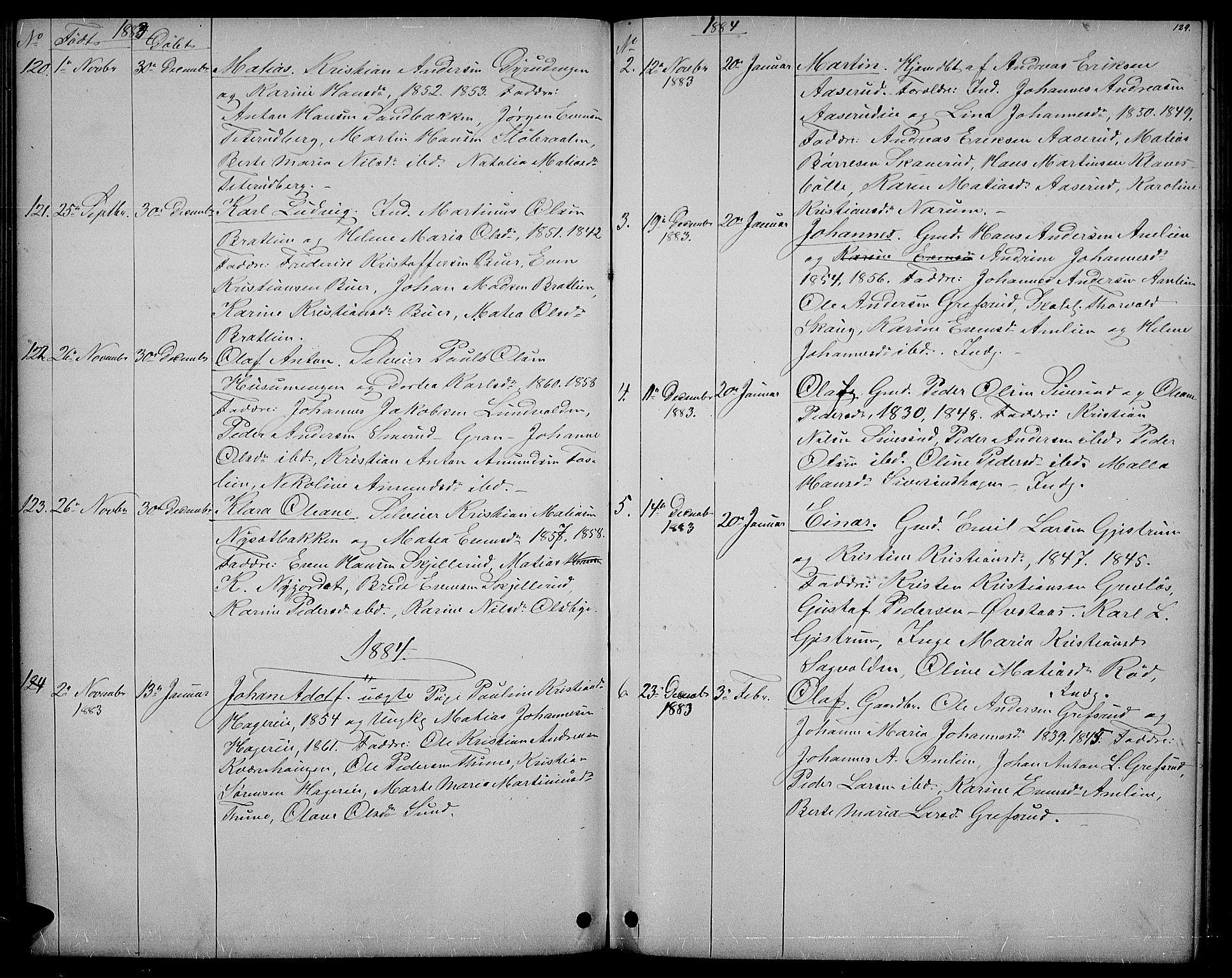 SAH, Vestre Toten prestekontor, H/Ha/Hab/L0006: Klokkerbok nr. 6, 1870-1887, s. 129