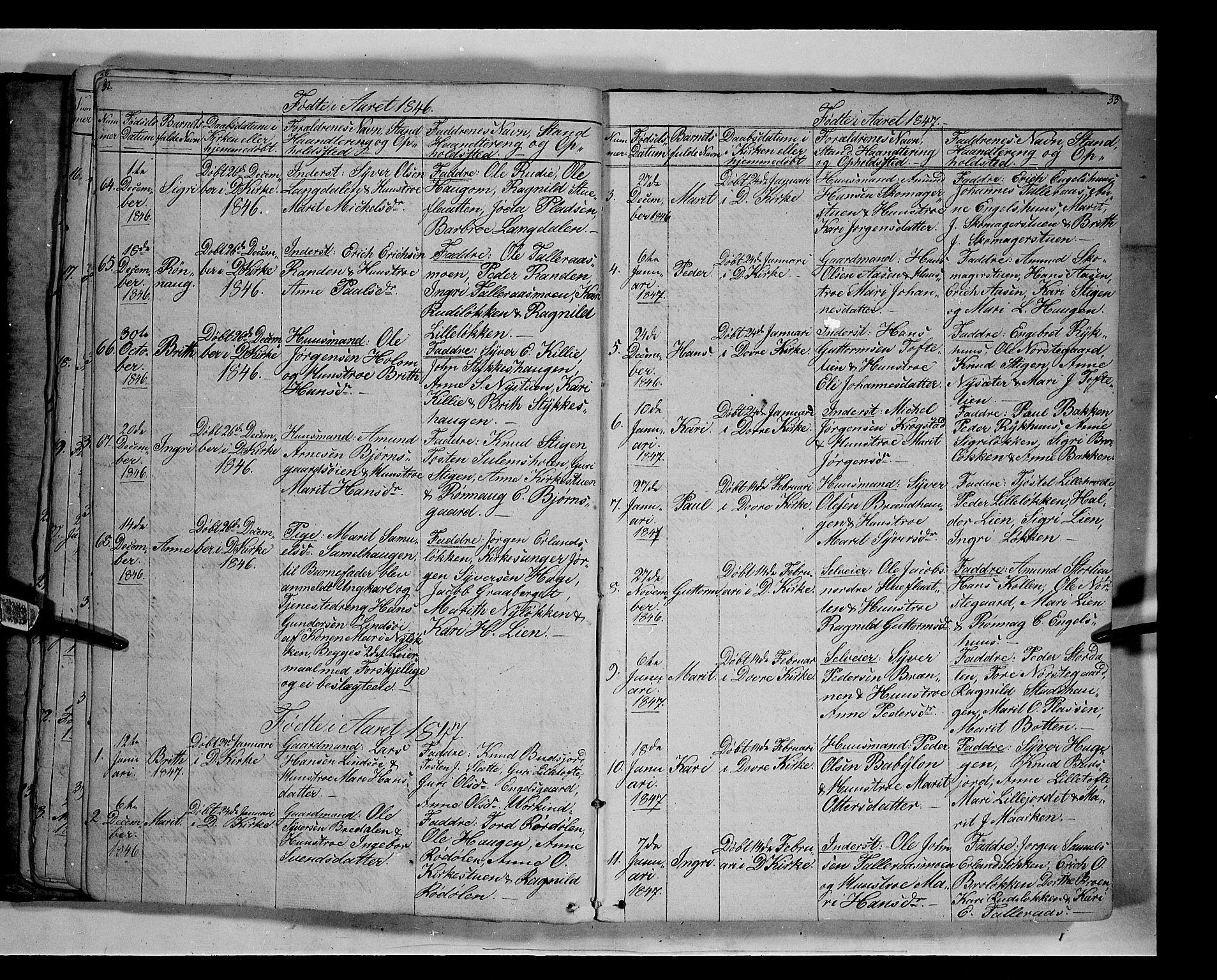 SAH, Lesja prestekontor, Klokkerbok nr. 3, 1842-1862, s. 32-33
