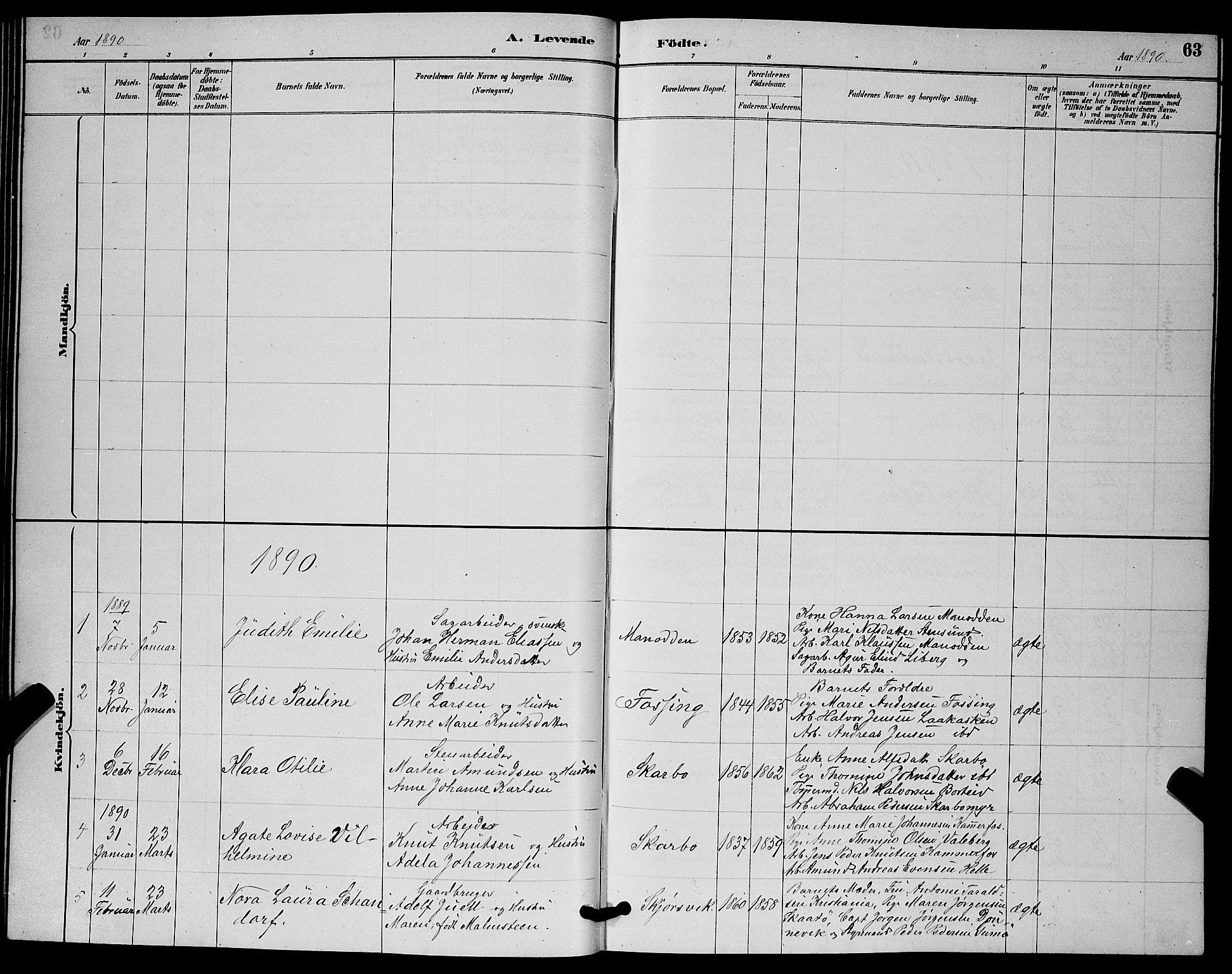 SAKO, Skåtøy kirkebøker, G/Ga/L0003: Klokkerbok nr. I 3, 1884-1898, s. 63