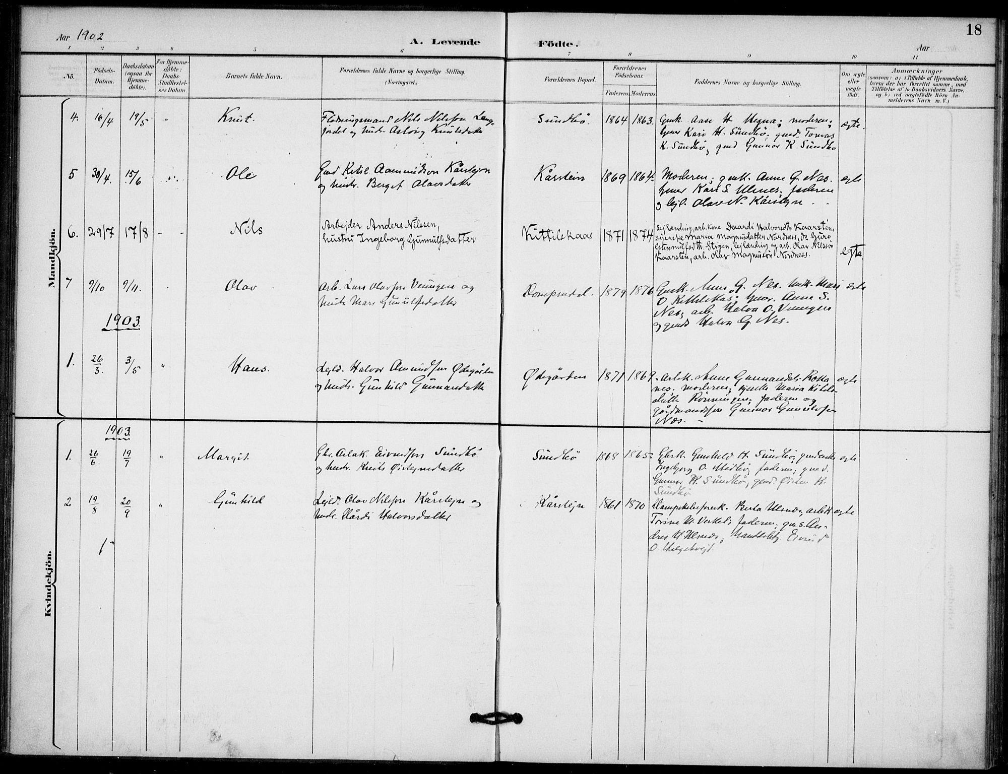 SAKO, Lunde kirkebøker, F/Fb/L0004: Ministerialbok nr. II 4, 1892-1907, s. 18