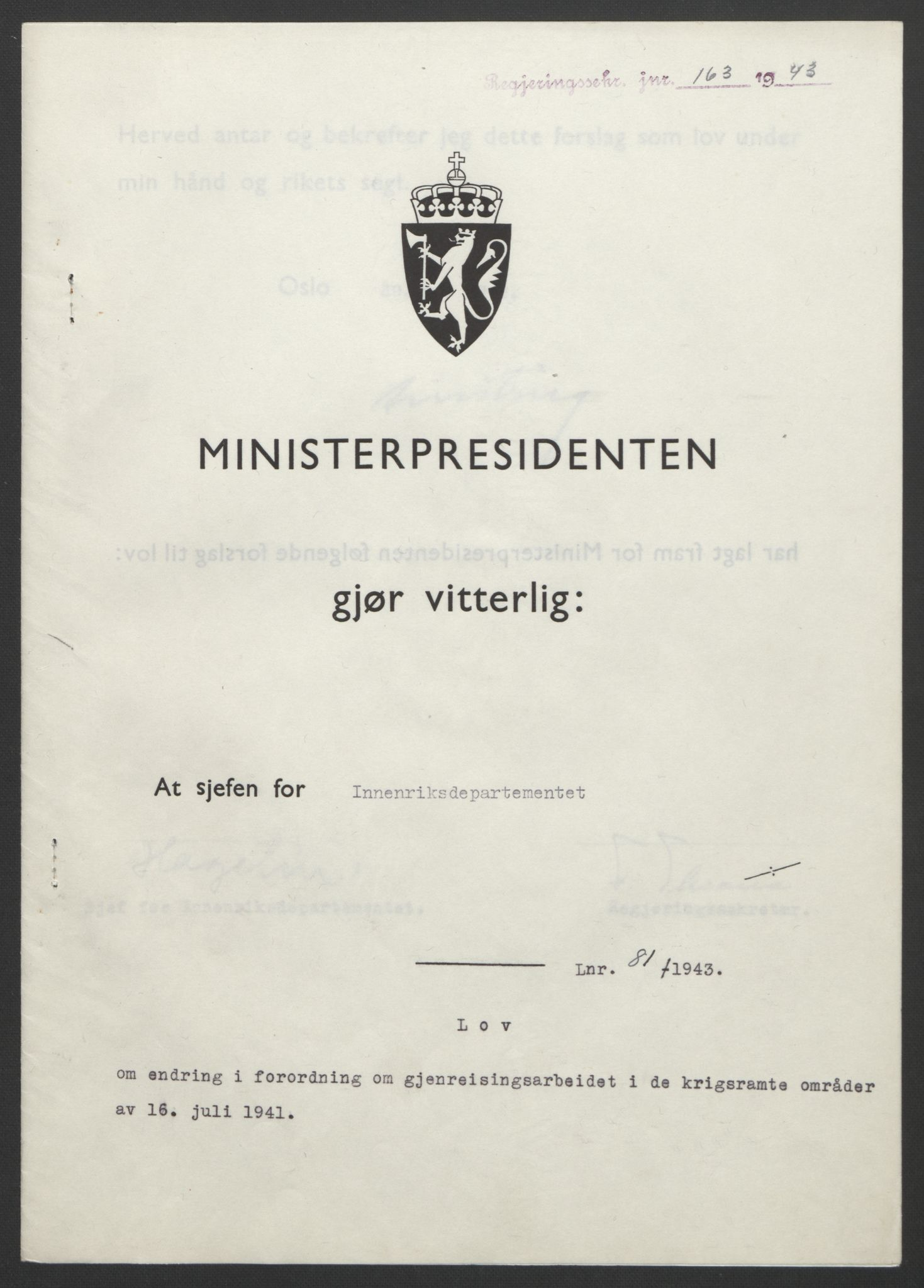 RA, NS-administrasjonen 1940-1945 (Statsrådsekretariatet, de kommisariske statsråder mm), D/Db/L0099: Lover, 1943, s. 370