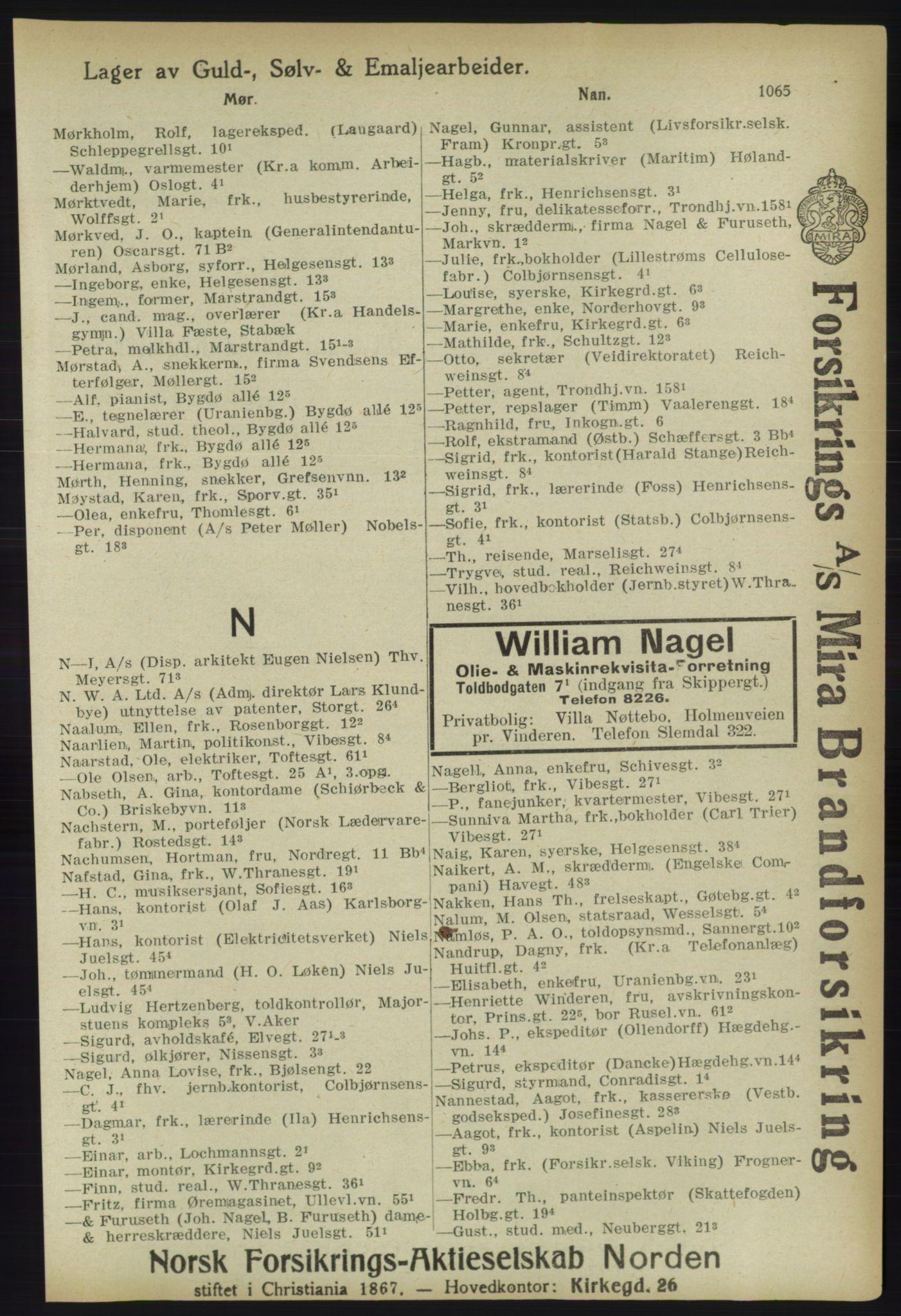 RA, Kristiania adressebok (publikasjon)*, 1918, s. 1065