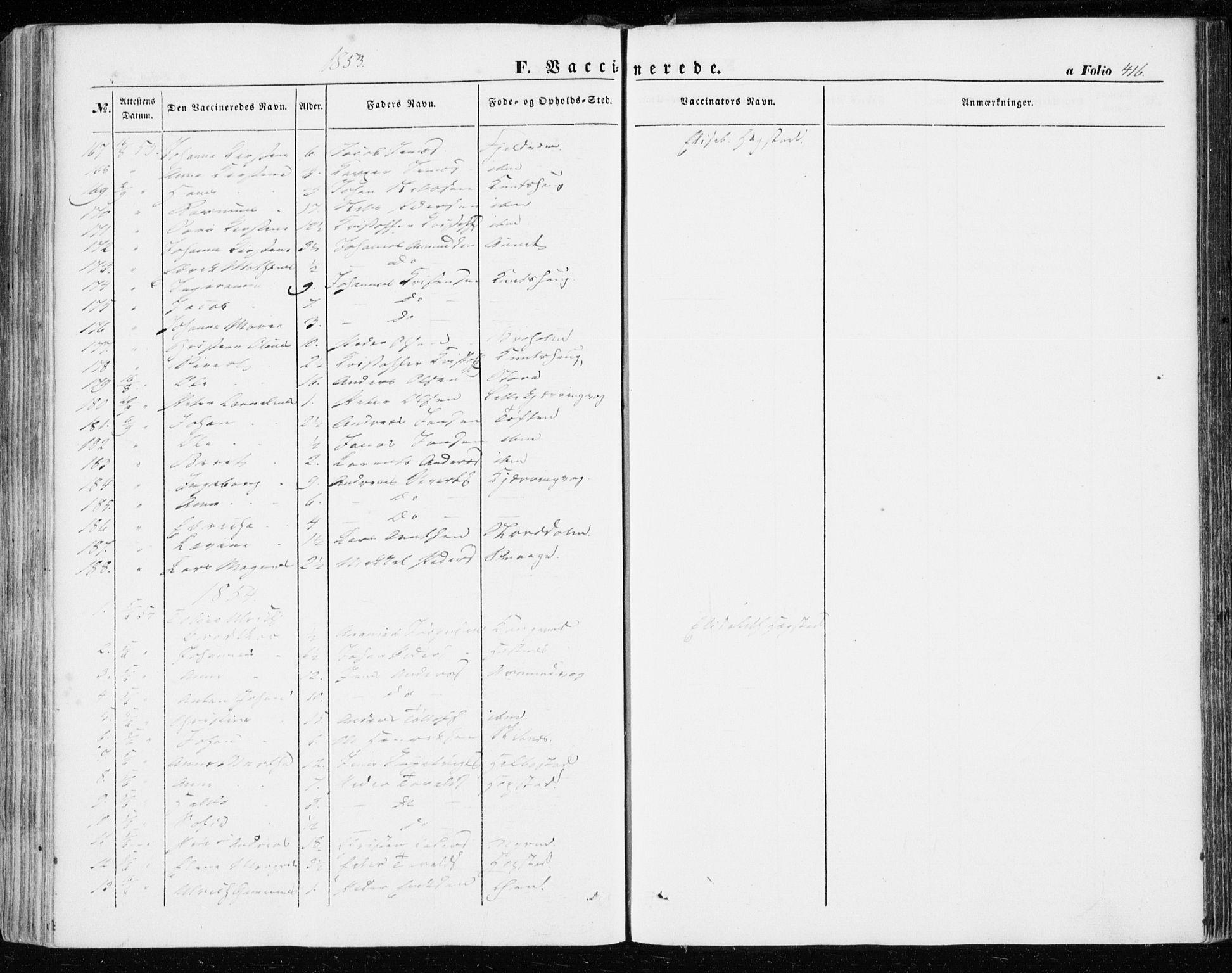 SAT, Ministerialprotokoller, klokkerbøker og fødselsregistre - Sør-Trøndelag, 634/L0530: Ministerialbok nr. 634A06, 1852-1860, s. 416