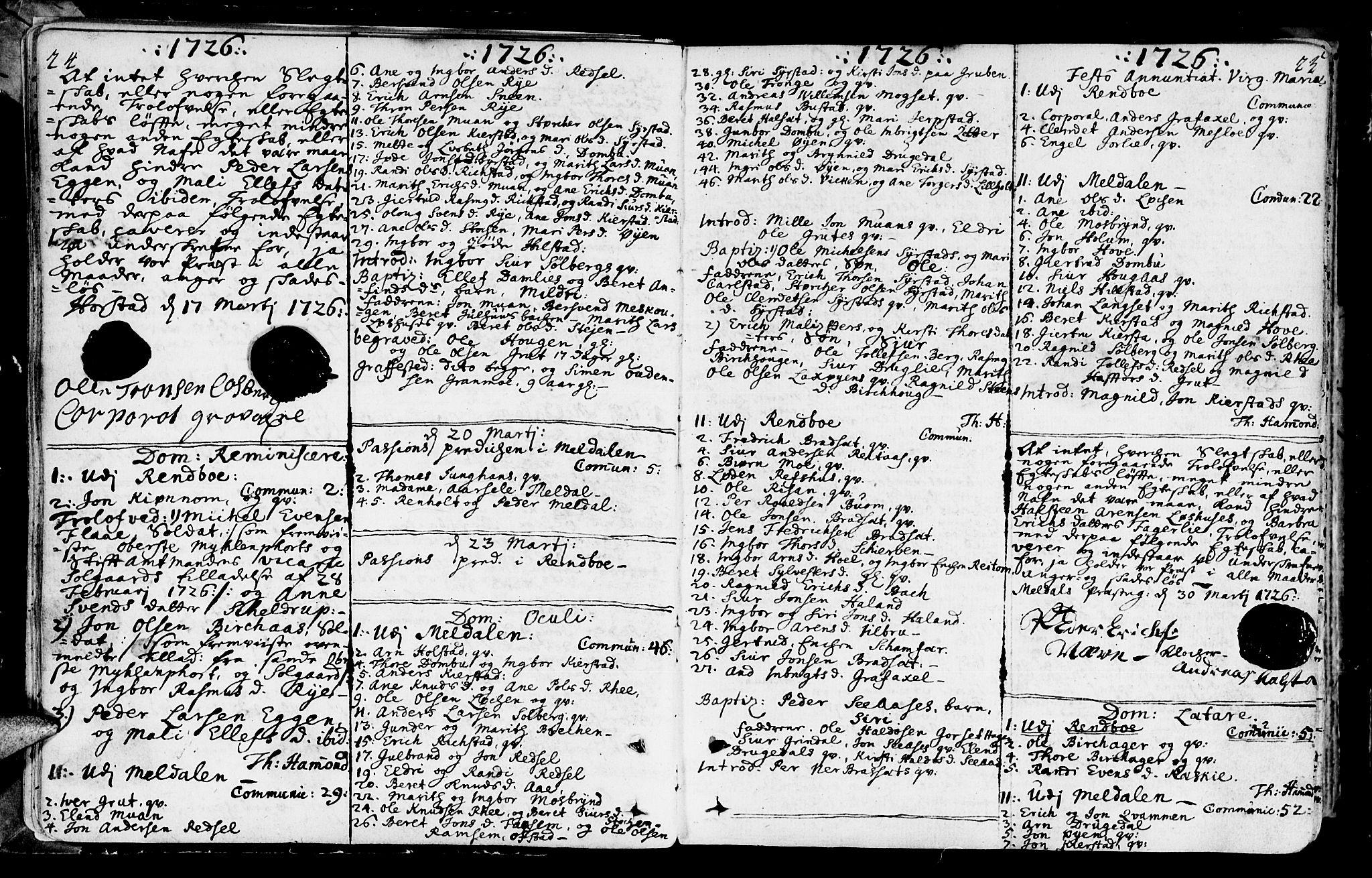 SAT, Ministerialprotokoller, klokkerbøker og fødselsregistre - Sør-Trøndelag, 672/L0850: Ministerialbok nr. 672A03, 1725-1751, s. 24-25