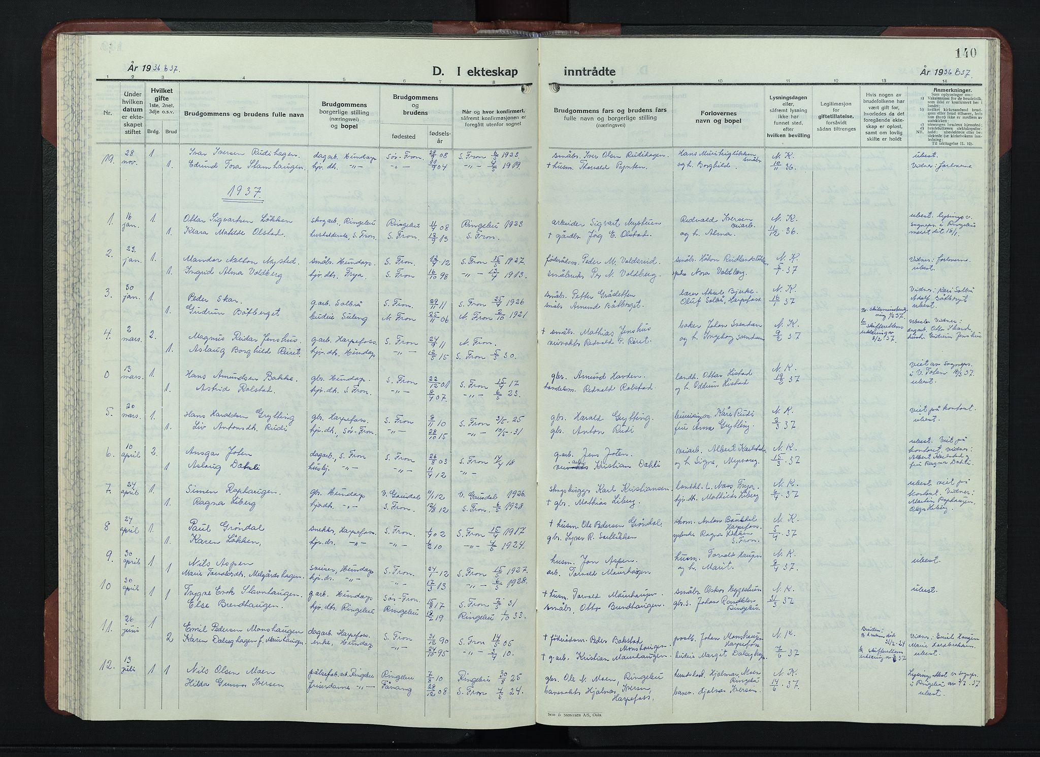 SAH, Sør-Fron prestekontor, H/Ha/Hab/L0006: Klokkerbok nr. 6, 1933-1948, s. 140