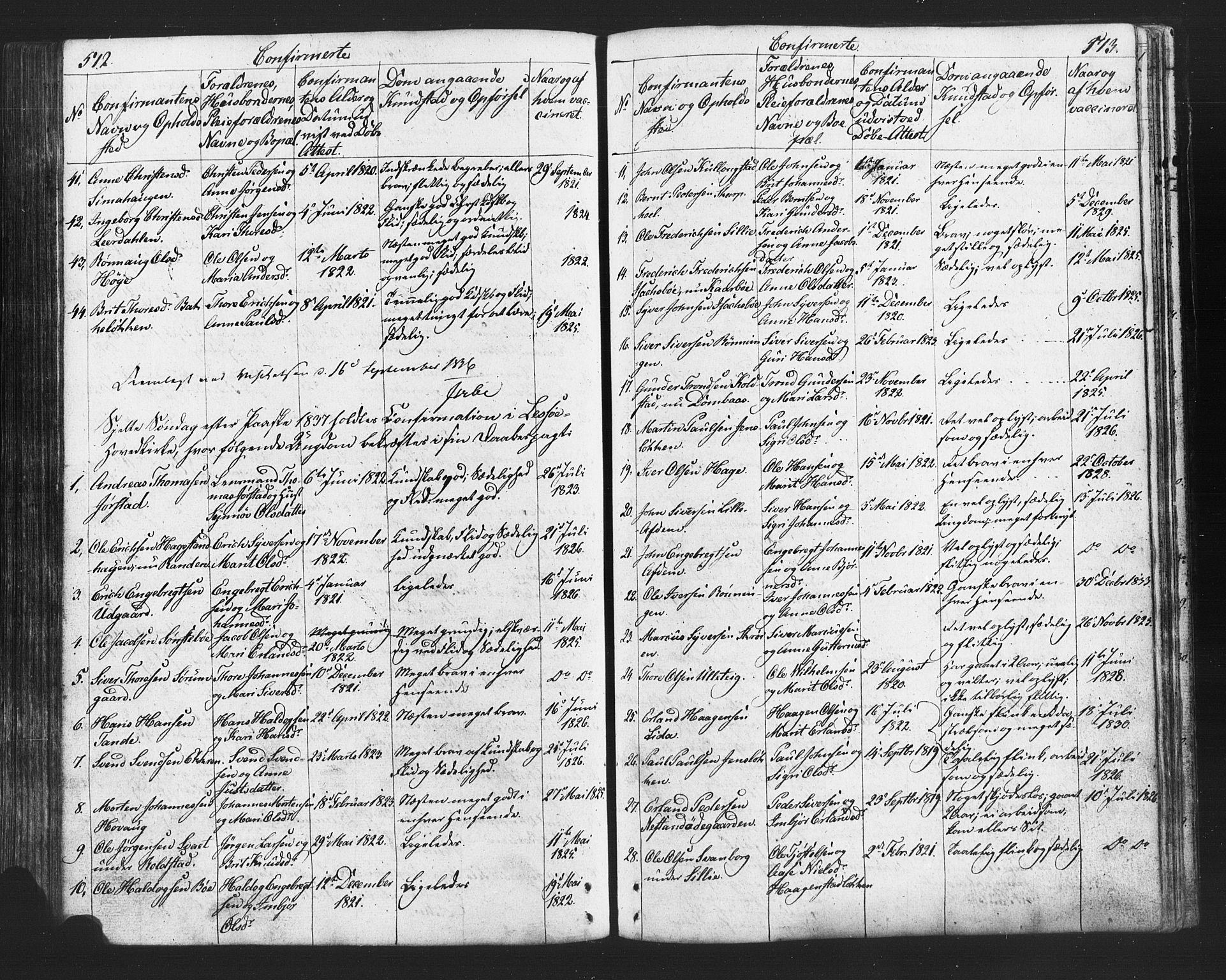 SAH, Lesja prestekontor, Klokkerbok nr. 2, 1832-1850, s. 512-513