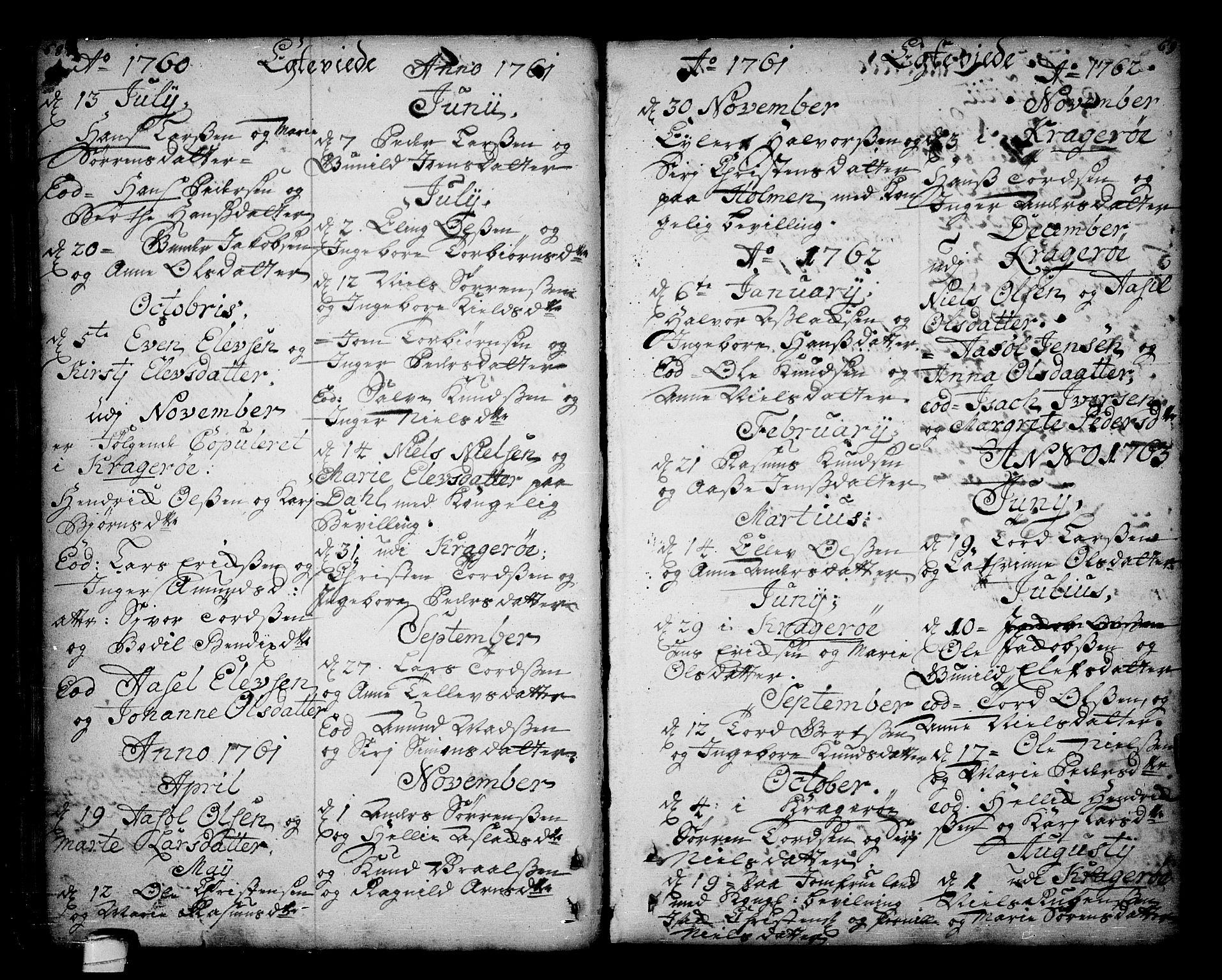 SAKO, Sannidal kirkebøker, F/Fa/L0001: Ministerialbok nr. 1, 1702-1766, s. 68-69