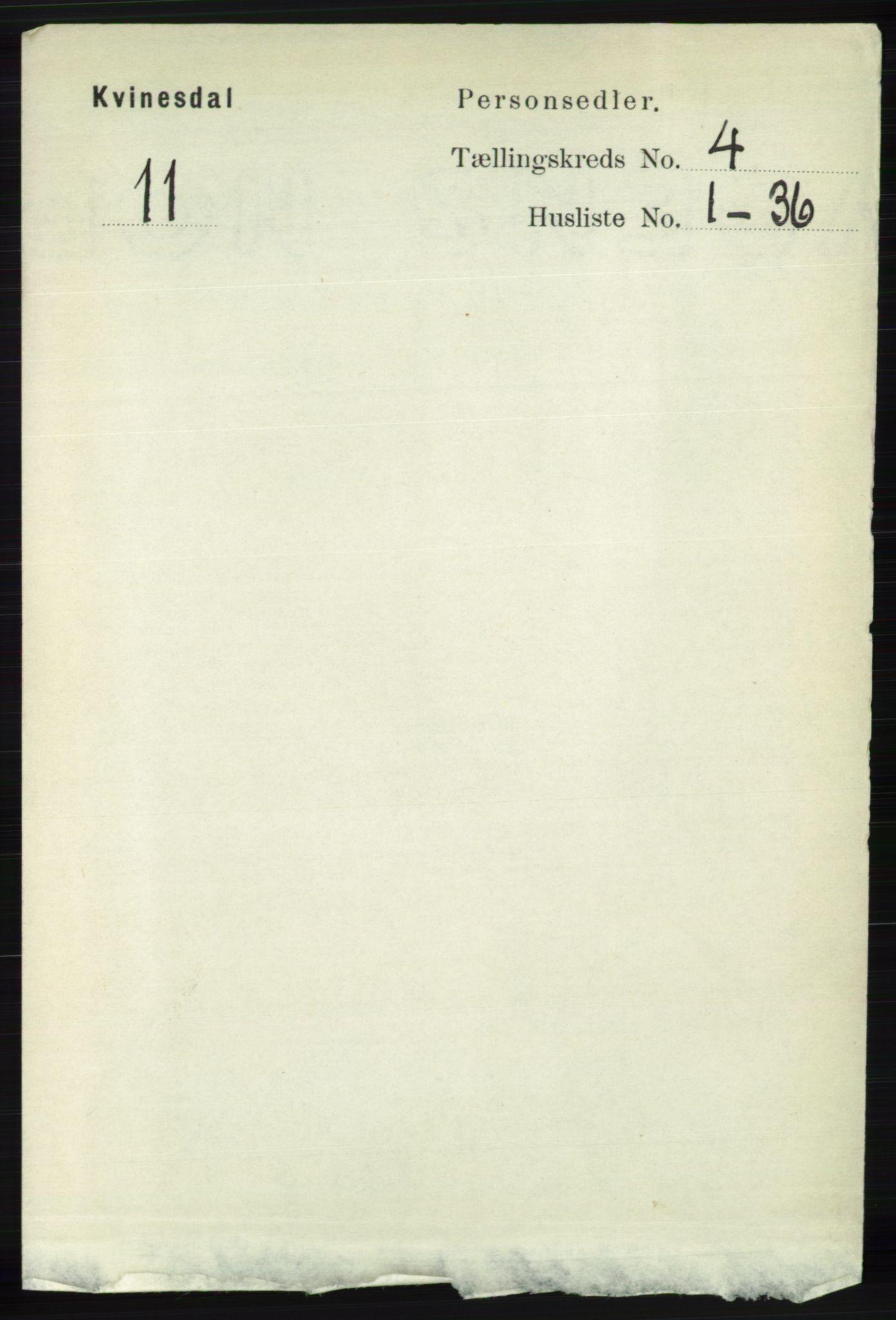 RA, Folketelling 1891 for 1037 Kvinesdal herred, 1891, s. 1431