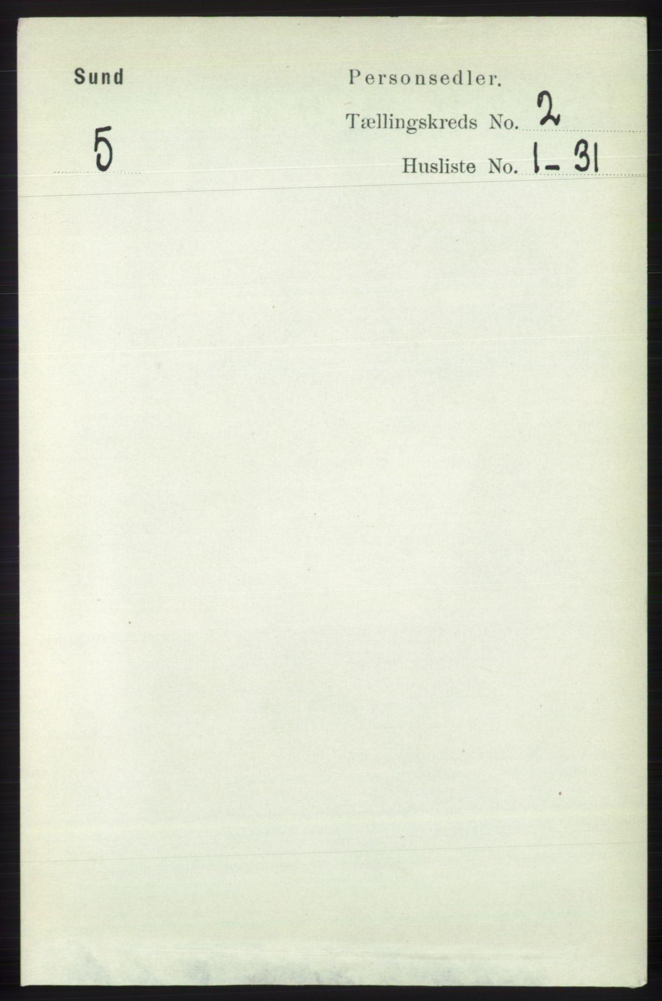 RA, Folketelling 1891 for 1245 Sund herred, 1891, s. 591