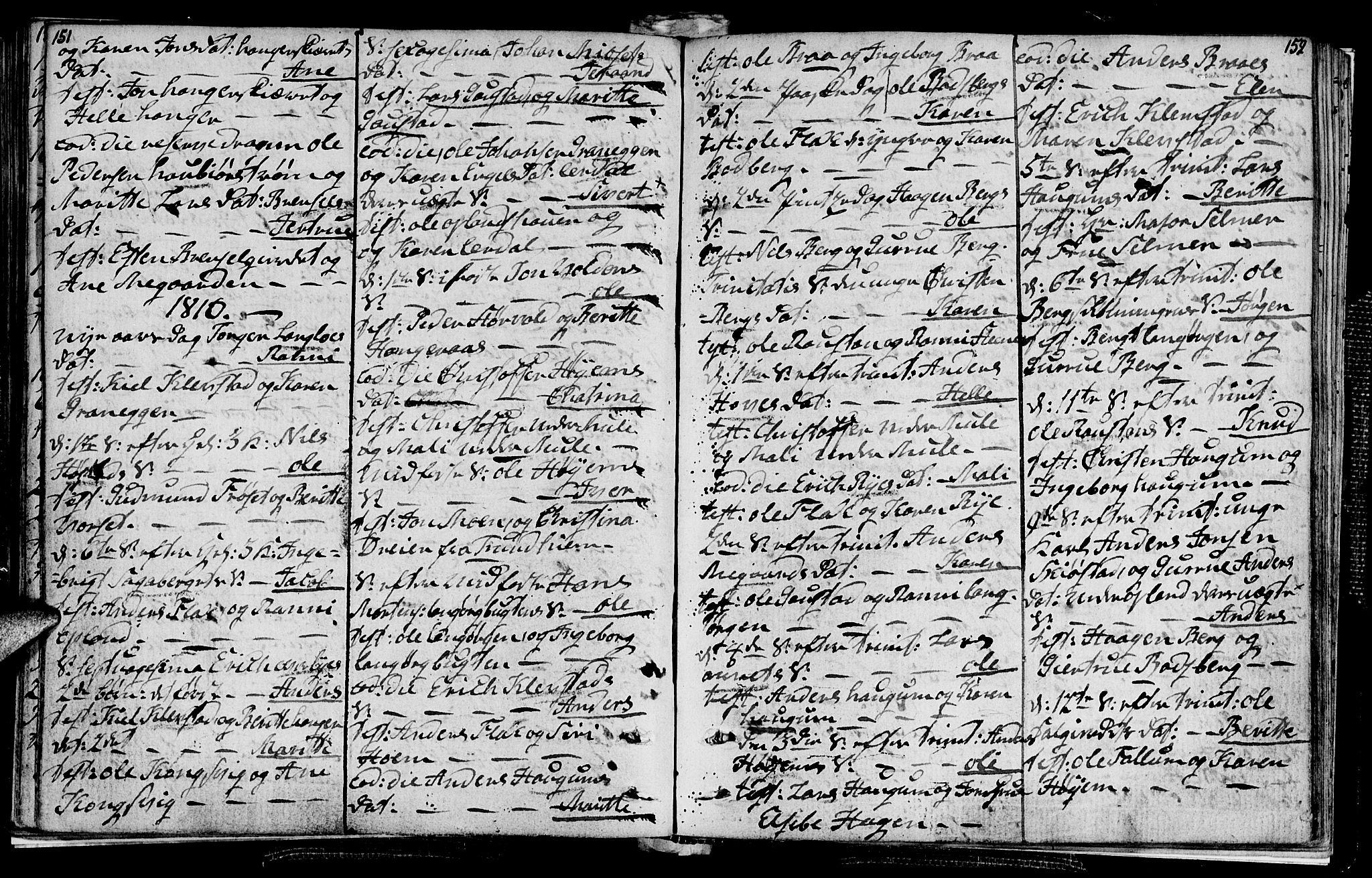 SAT, Ministerialprotokoller, klokkerbøker og fødselsregistre - Sør-Trøndelag, 612/L0371: Ministerialbok nr. 612A05, 1803-1816, s. 151-152