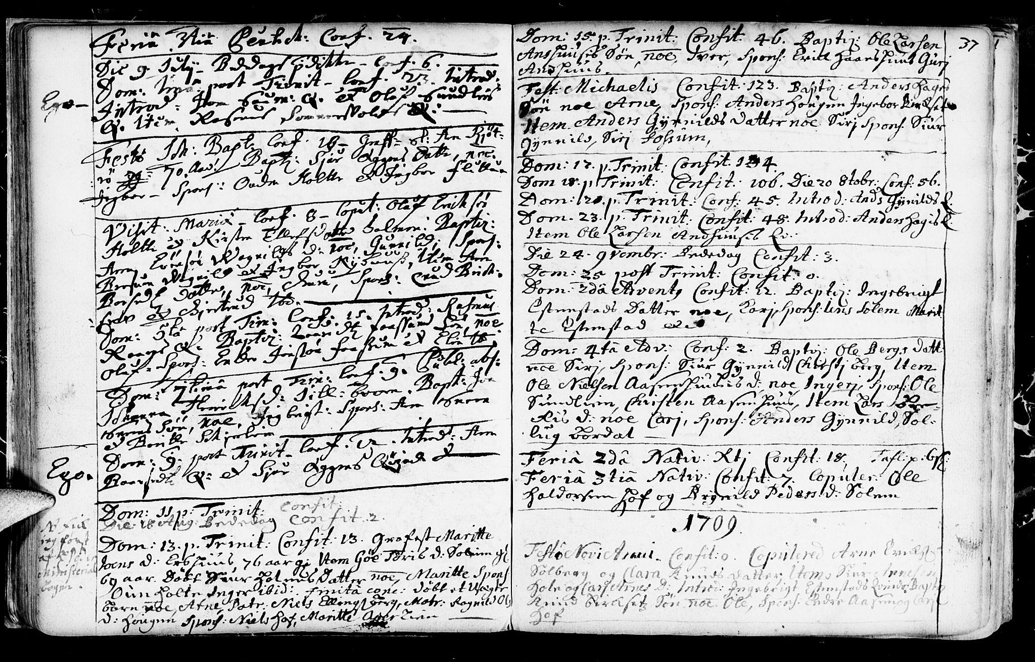 SAT, Ministerialprotokoller, klokkerbøker og fødselsregistre - Sør-Trøndelag, 689/L1036: Ministerialbok nr. 689A01, 1696-1746, s. 37