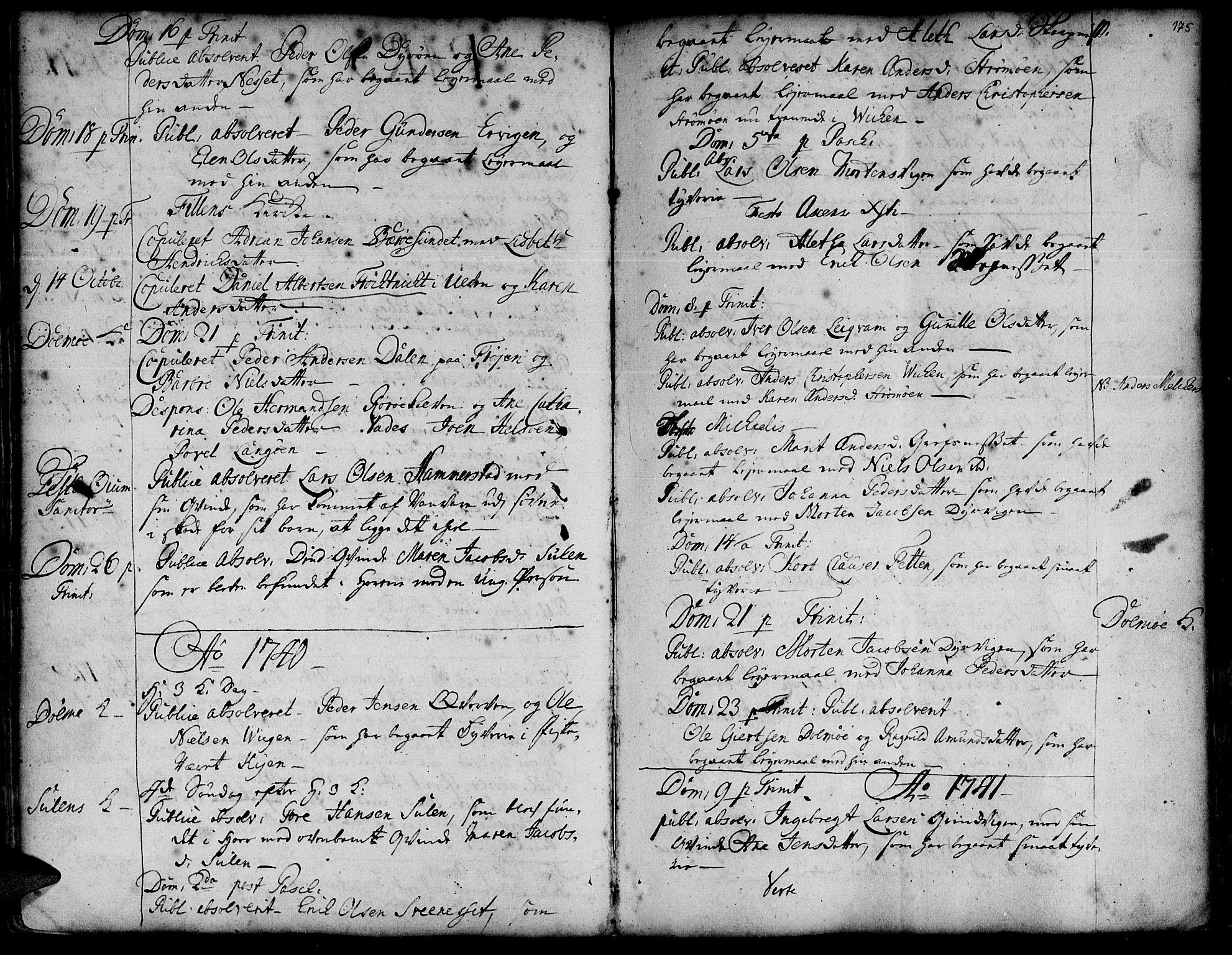 SAT, Ministerialprotokoller, klokkerbøker og fødselsregistre - Sør-Trøndelag, 634/L0525: Ministerialbok nr. 634A01, 1736-1775, s. 175
