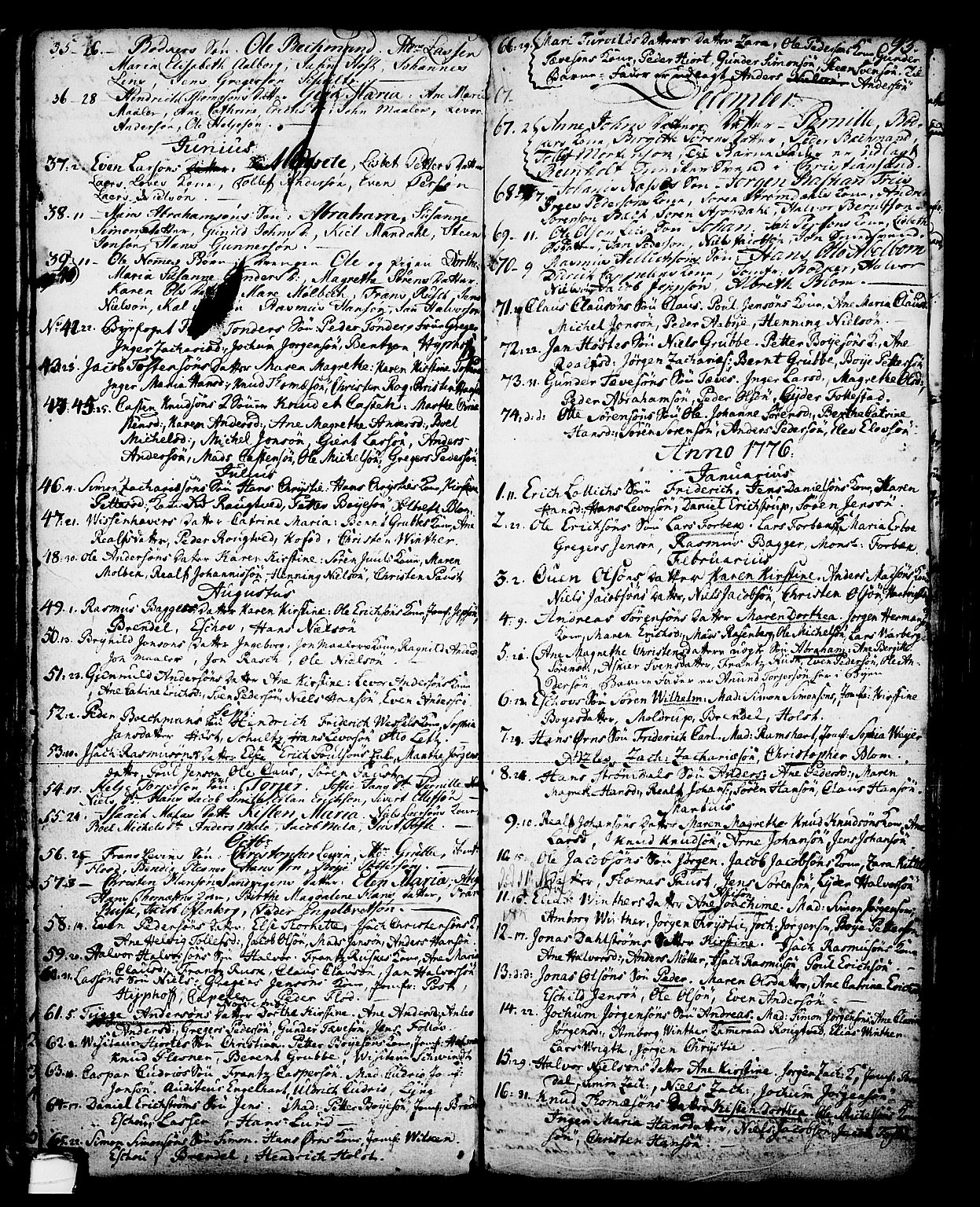 SAKO, Skien kirkebøker, G/Ga/L0001: Klokkerbok nr. 1, 1756-1791, s. 93