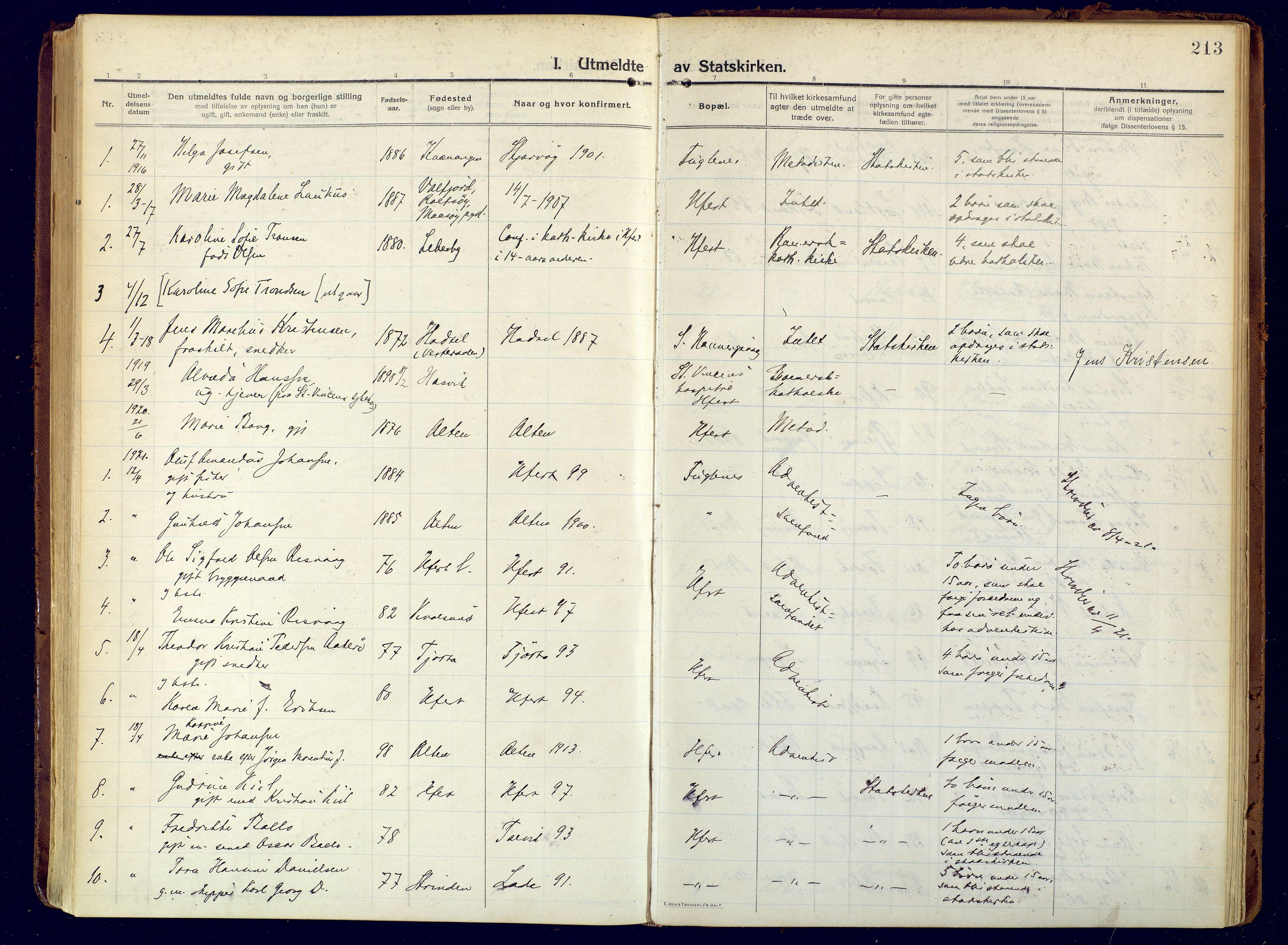 SATØ, Hammerfest sokneprestembete, Ministerialbok nr. 15, 1916-1923, s. 213
