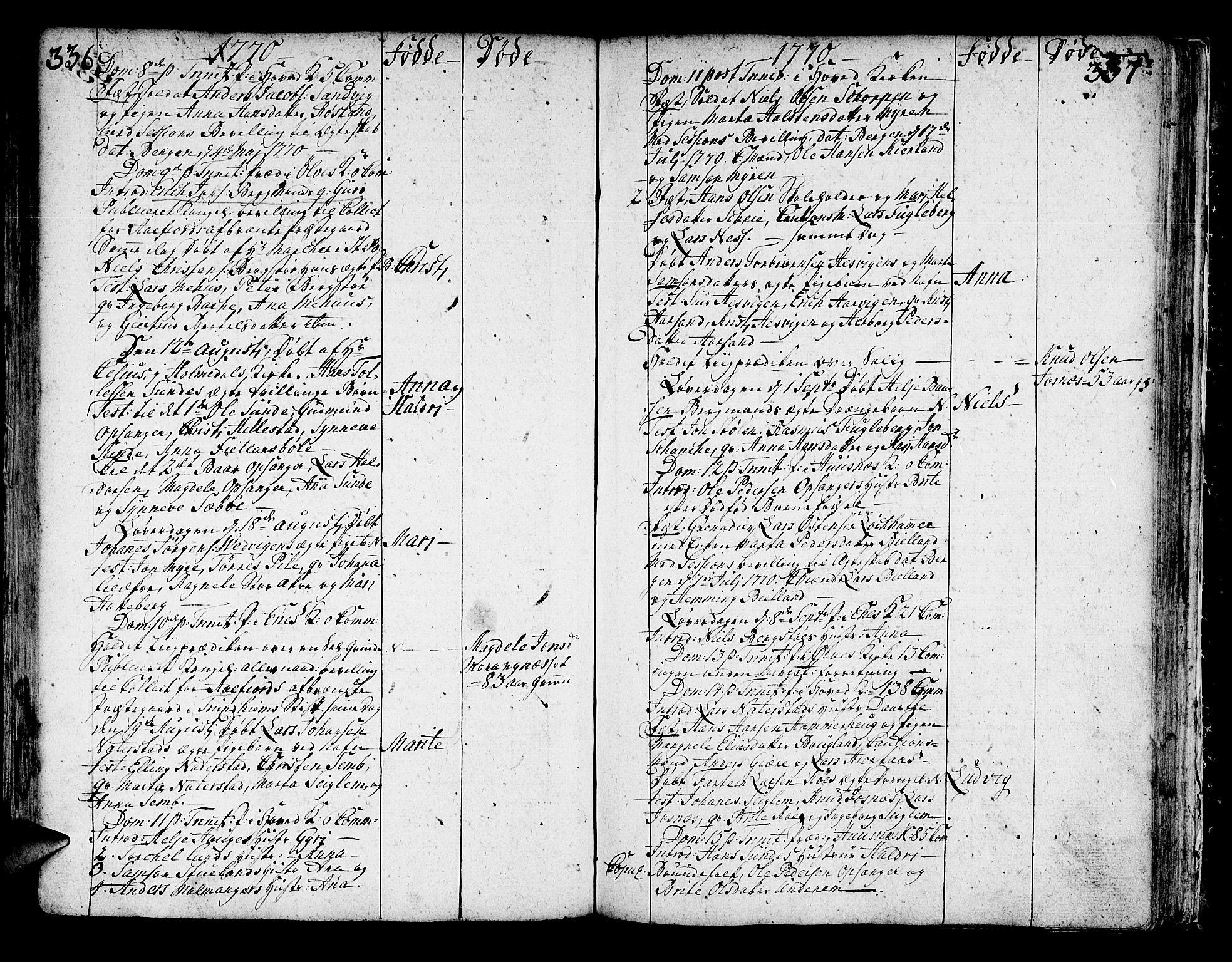 SAB, Kvinnherad Sokneprestembete, H/Haa: Ministerialbok nr. A 3, 1754-1777, s. 336-337