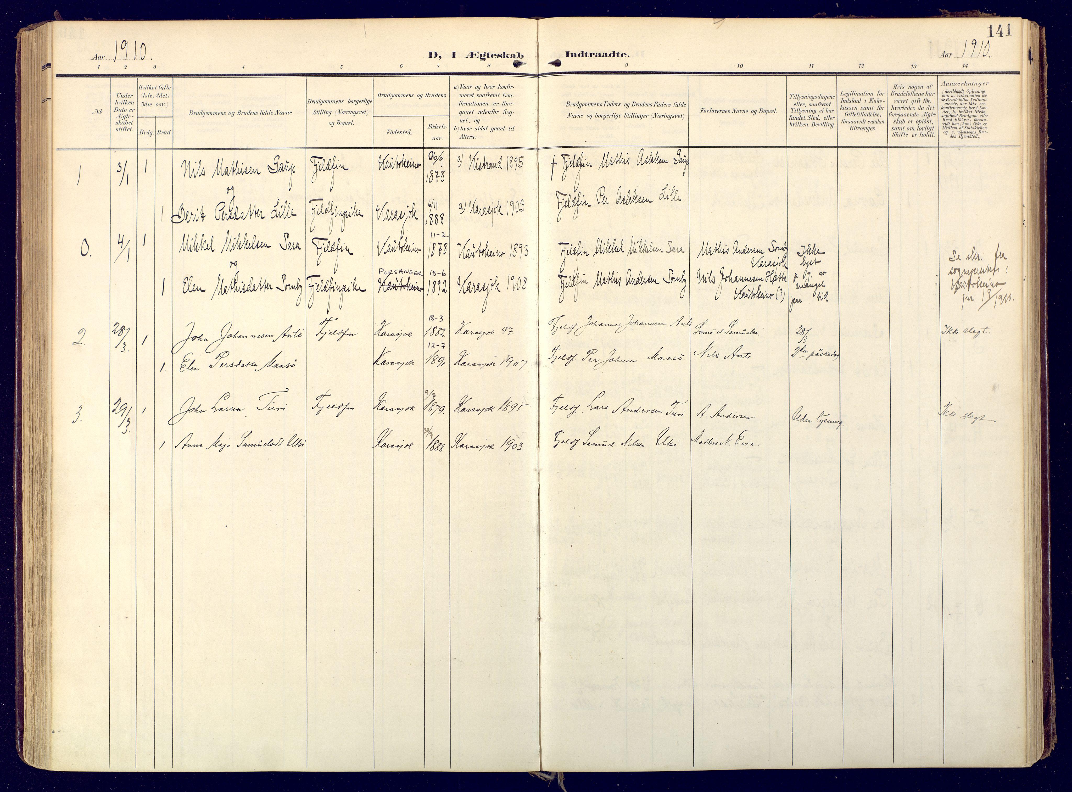 SATØ, Karasjok sokneprestkontor, H/Ha: Ministerialbok nr. 3, 1907-1926, s. 141