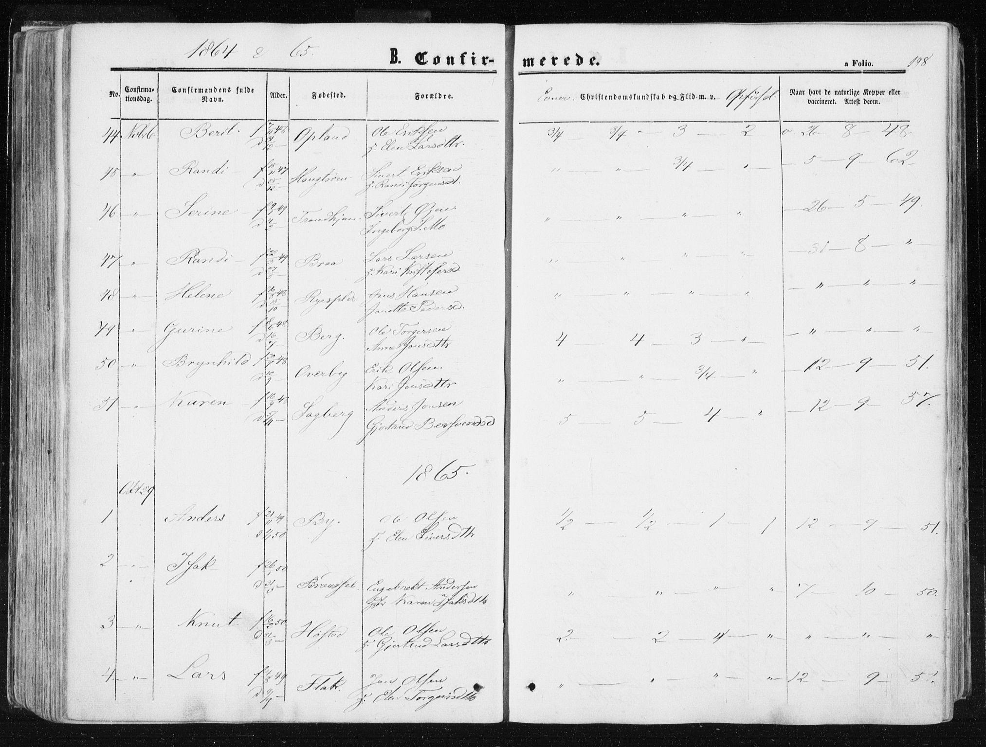 SAT, Ministerialprotokoller, klokkerbøker og fødselsregistre - Sør-Trøndelag, 612/L0377: Ministerialbok nr. 612A09, 1859-1877, s. 198