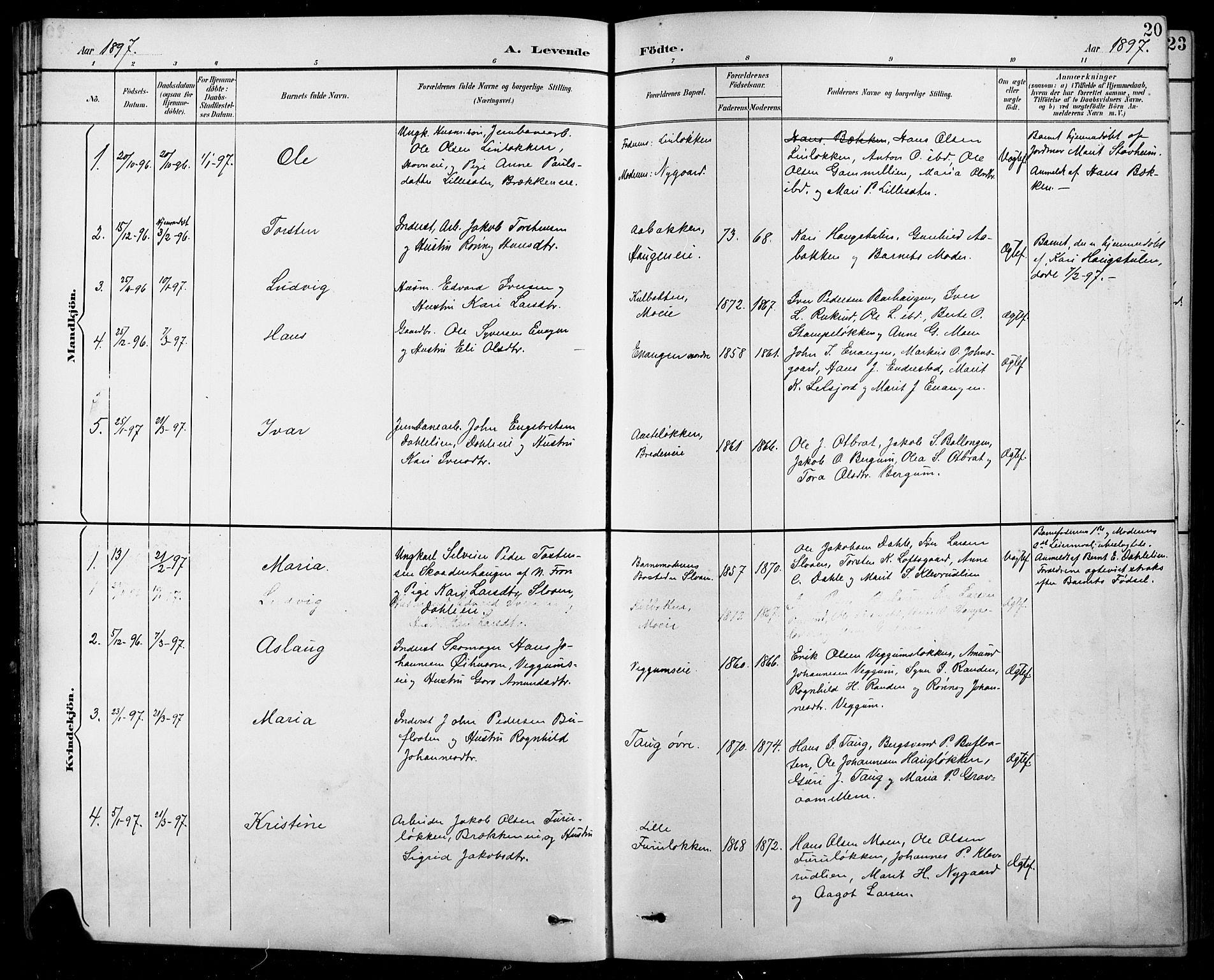 SAH, Sel prestekontor, Klokkerbok nr. 1, 1894-1923, s. 20
