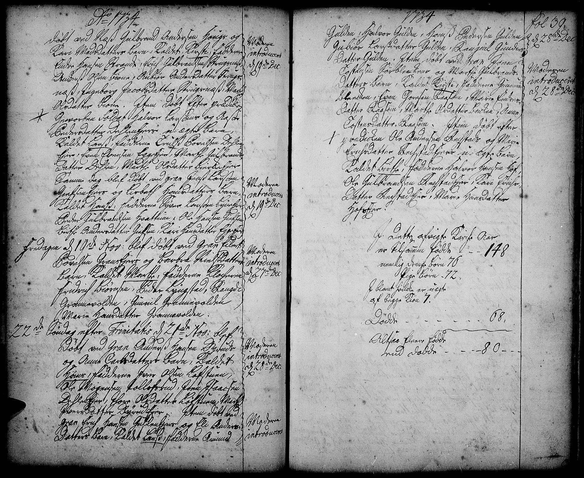 SAH, Gran prestekontor, Ministerialbok nr. 2, 1732-1744, s. 39