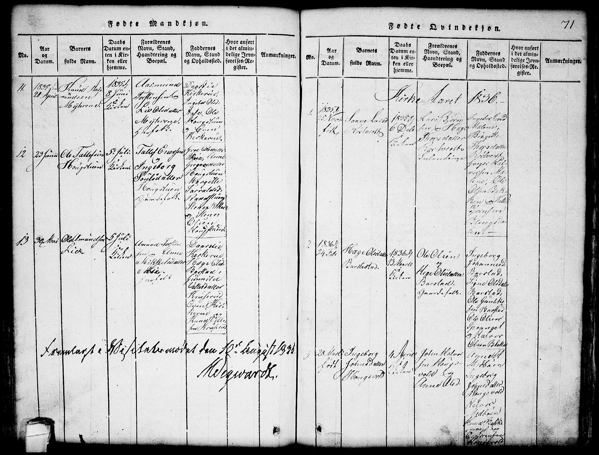 SAKO, Seljord kirkebøker, G/Gb/L0002: Klokkerbok nr. II 2, 1815-1854, s. 71
