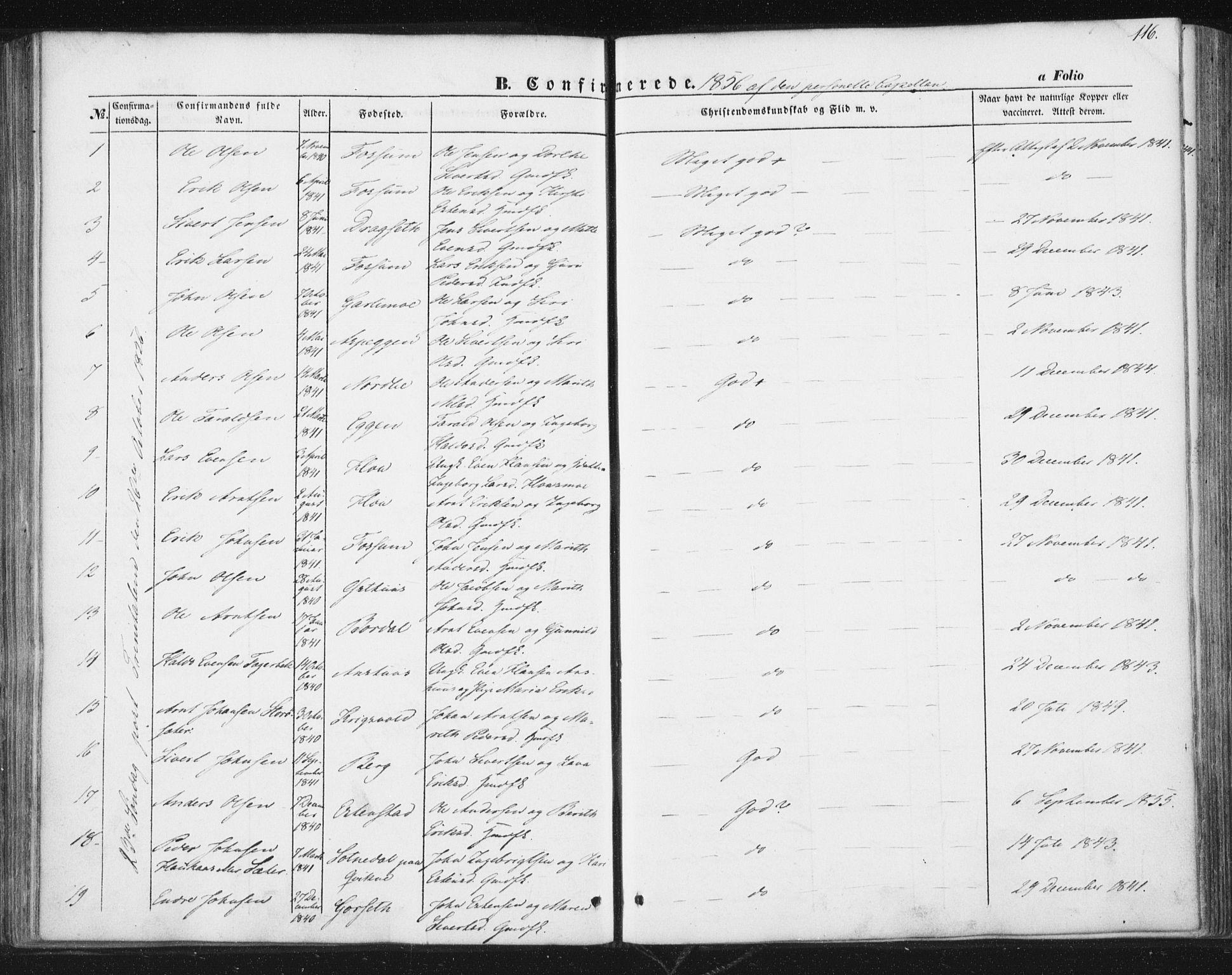 SAT, Ministerialprotokoller, klokkerbøker og fødselsregistre - Sør-Trøndelag, 689/L1038: Ministerialbok nr. 689A03, 1848-1872, s. 116