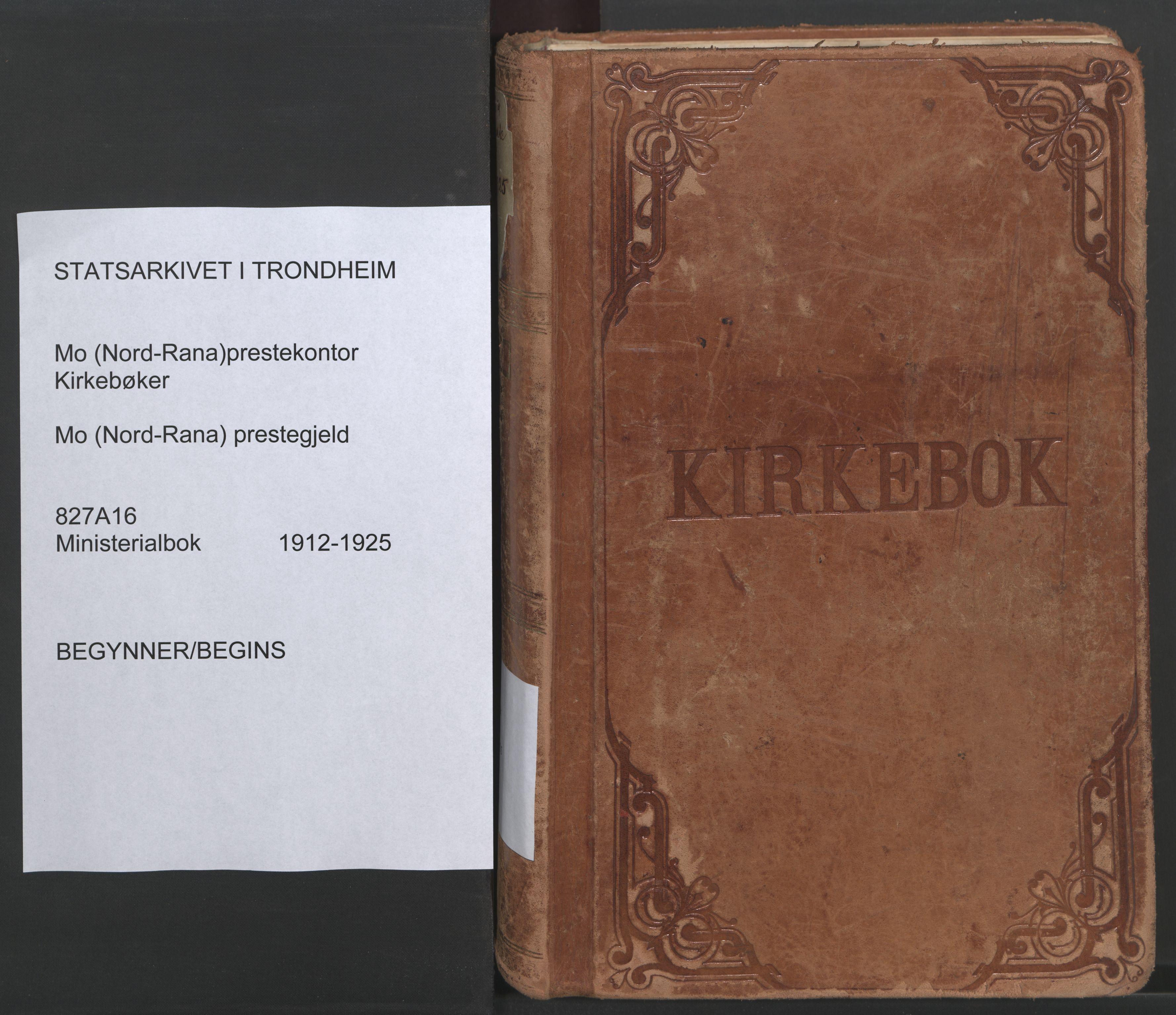 SAT, Ministerialprotokoller, klokkerbøker og fødselsregistre - Nordland, 827/L0404: Ministerialbok nr. 827A16, 1912-1925