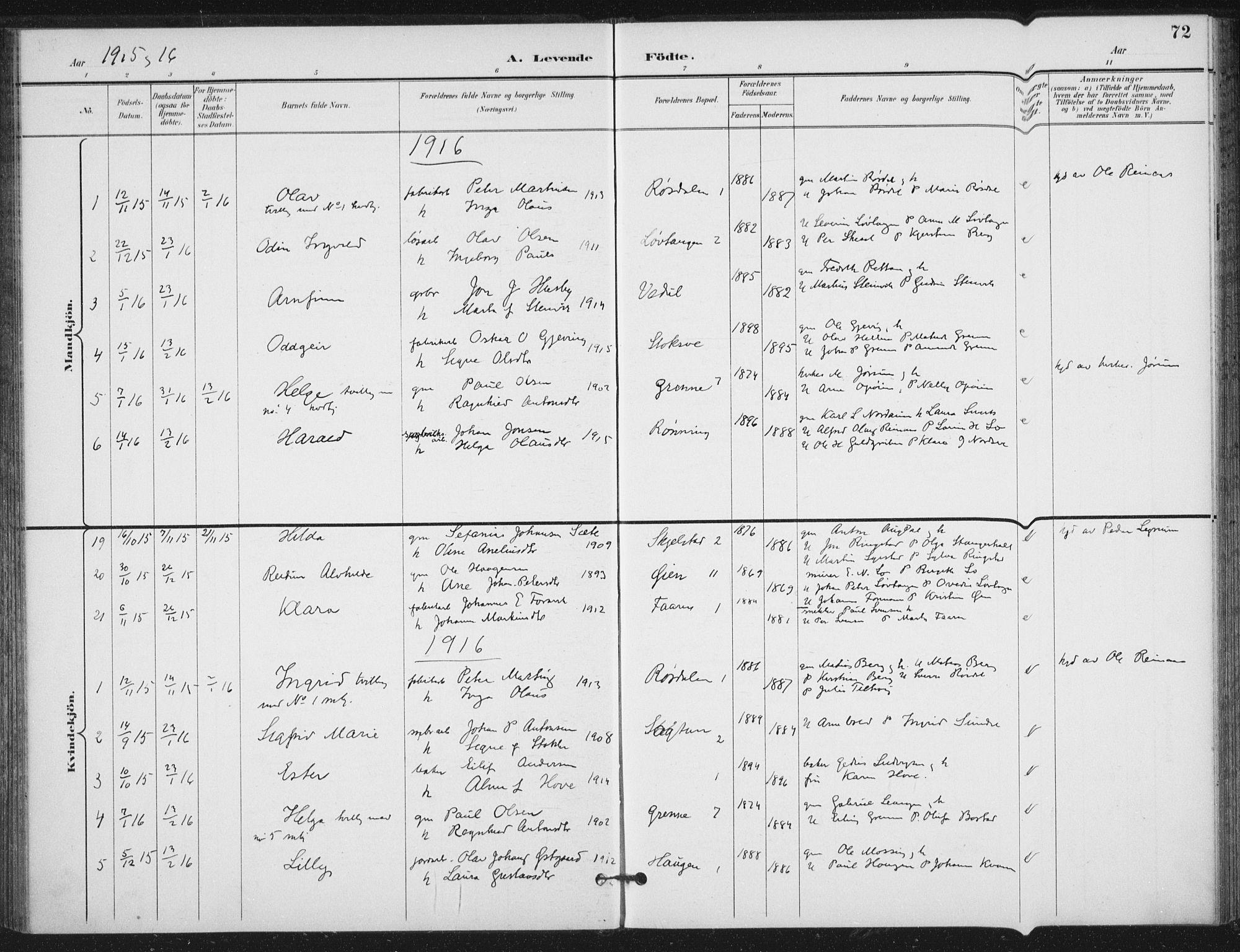 SAT, Ministerialprotokoller, klokkerbøker og fødselsregistre - Nord-Trøndelag, 714/L0131: Ministerialbok nr. 714A02, 1896-1918, s. 72