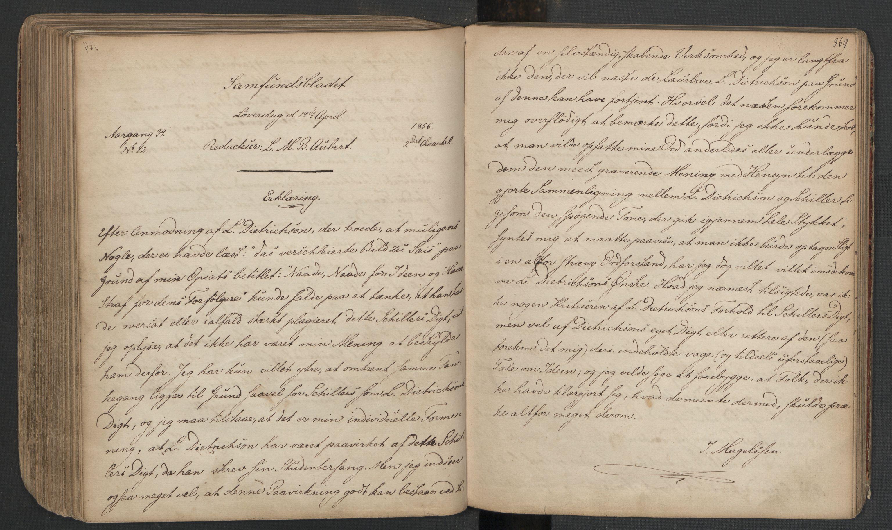 RA, Det Norske Studentersamfund, X/Xa/L0005, 1855-1856, s. 187