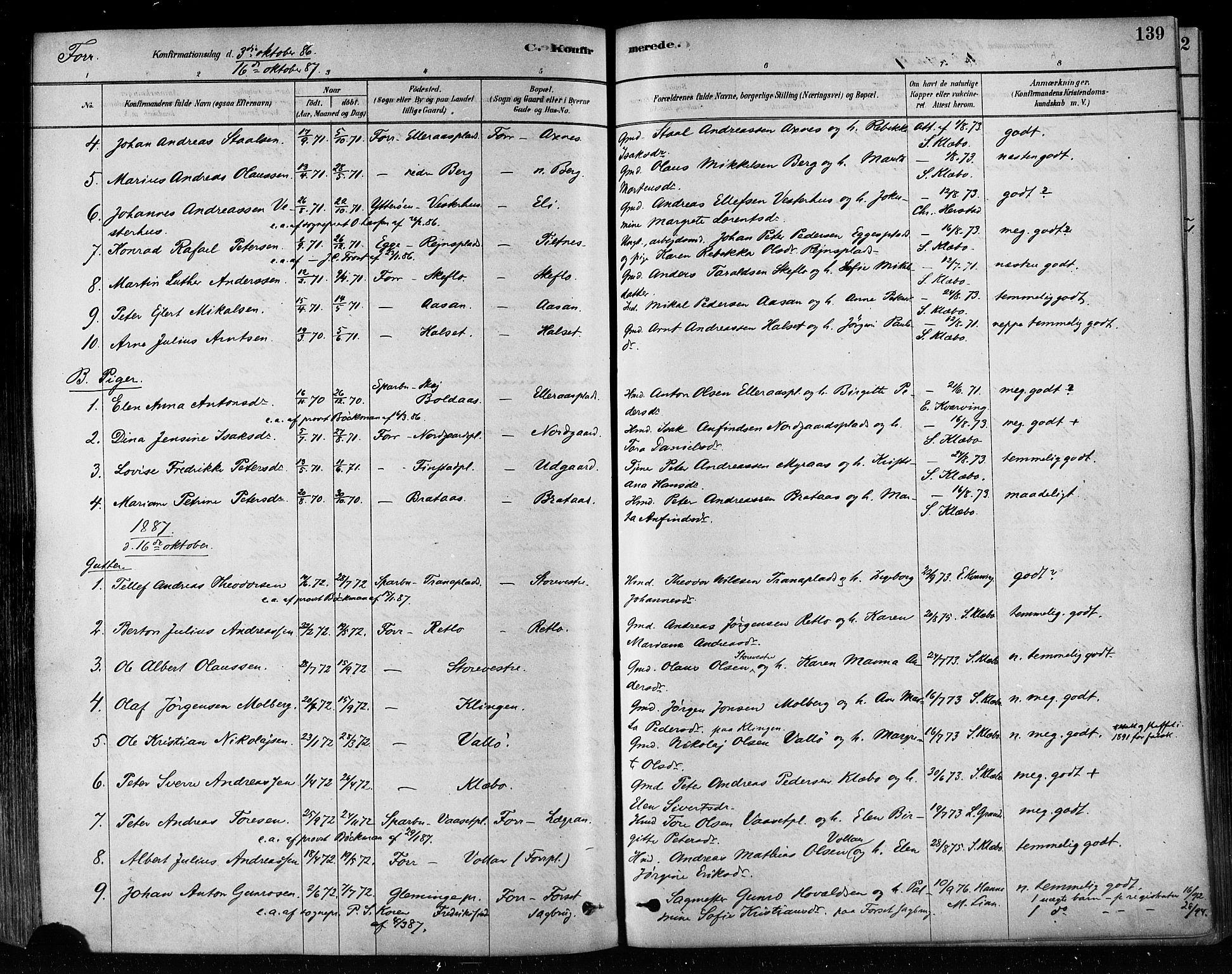 SAT, Ministerialprotokoller, klokkerbøker og fødselsregistre - Nord-Trøndelag, 746/L0448: Ministerialbok nr. 746A07 /1, 1878-1900, s. 139