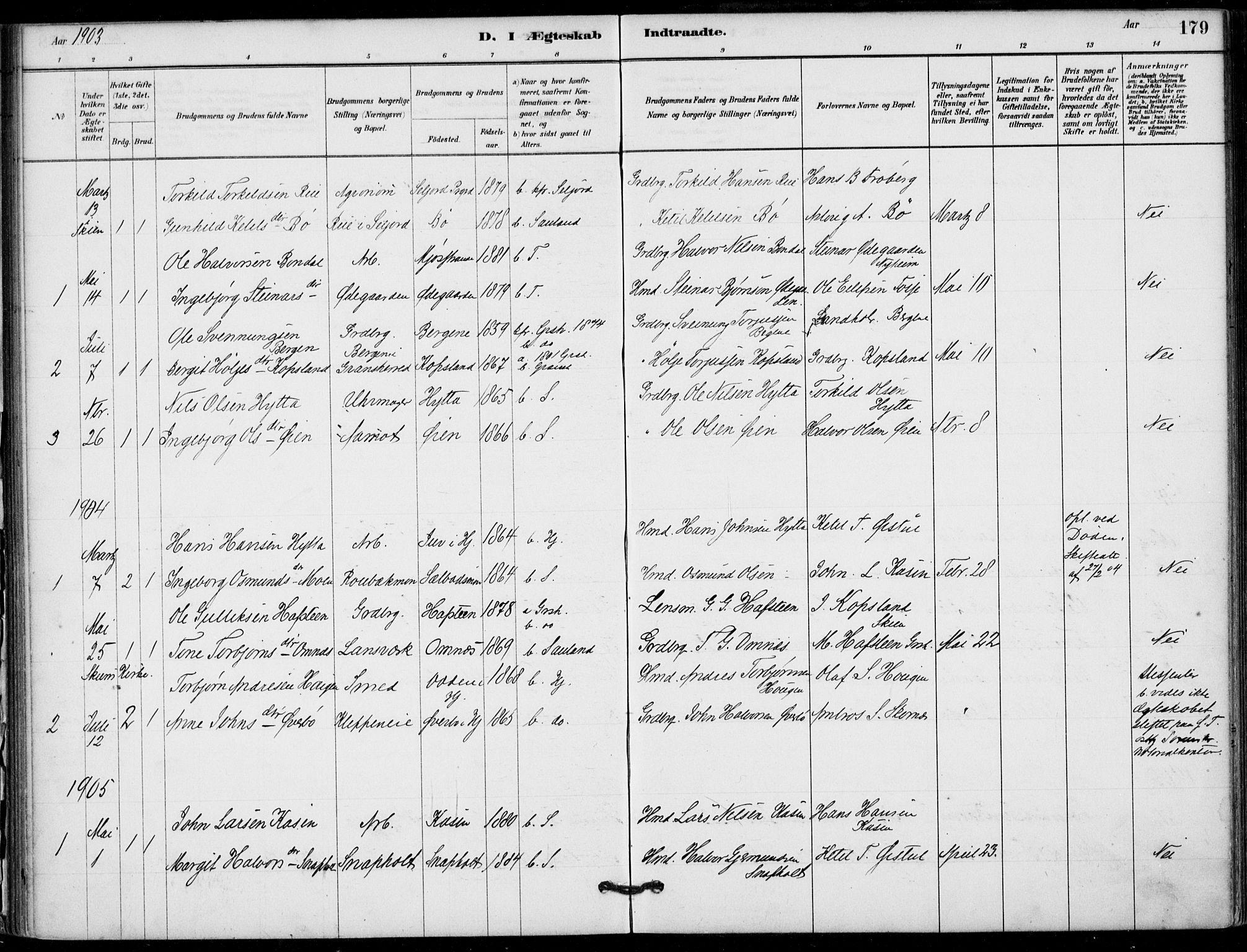 SAKO, Hjartdal kirkebøker, F/Fb/L0002: Ministerialbok nr. II 2, 1880-1932, s. 179