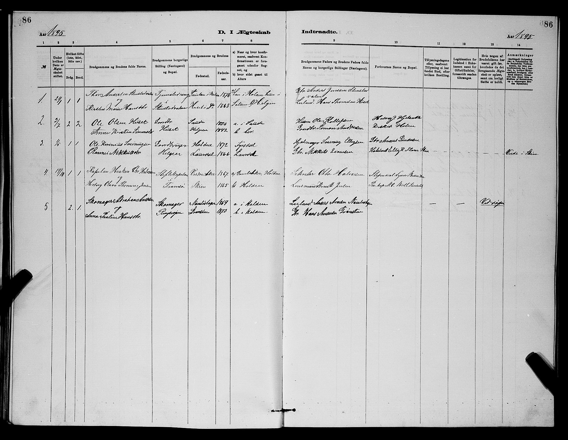 SAKO, Holla kirkebøker, G/Gb/L0001: Klokkerbok nr. II 1, 1882-1897, s. 86