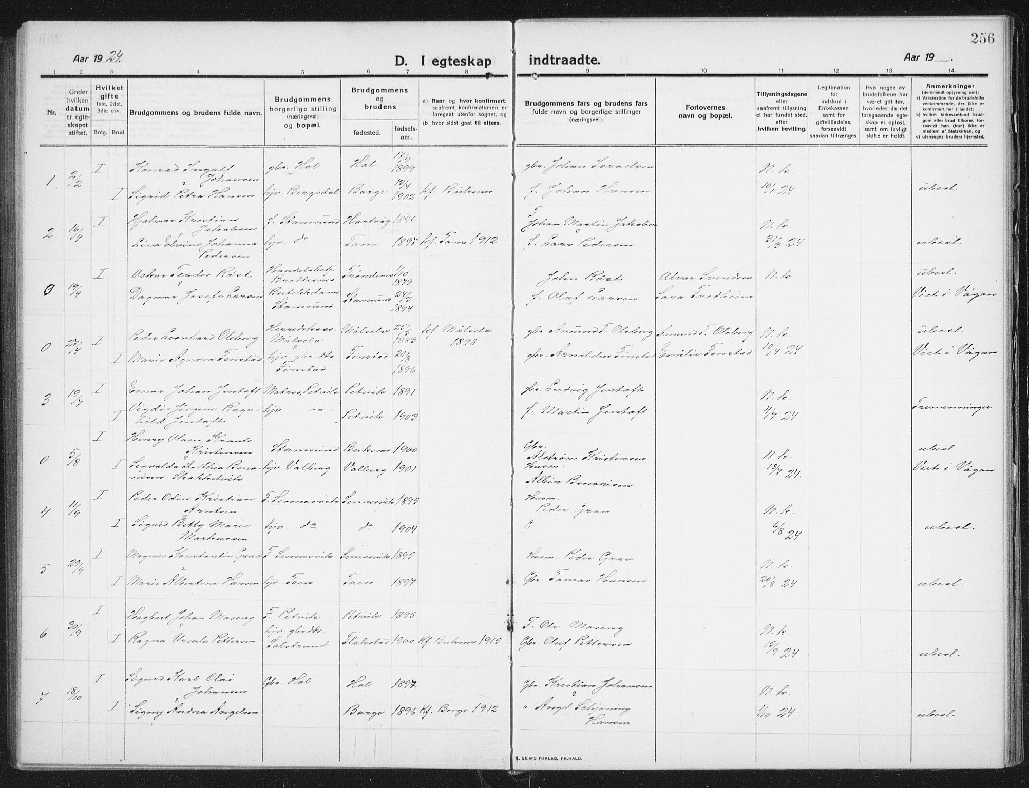 SAT, Ministerialprotokoller, klokkerbøker og fødselsregistre - Nordland, 882/L1183: Klokkerbok nr. 882C01, 1911-1938, s. 256