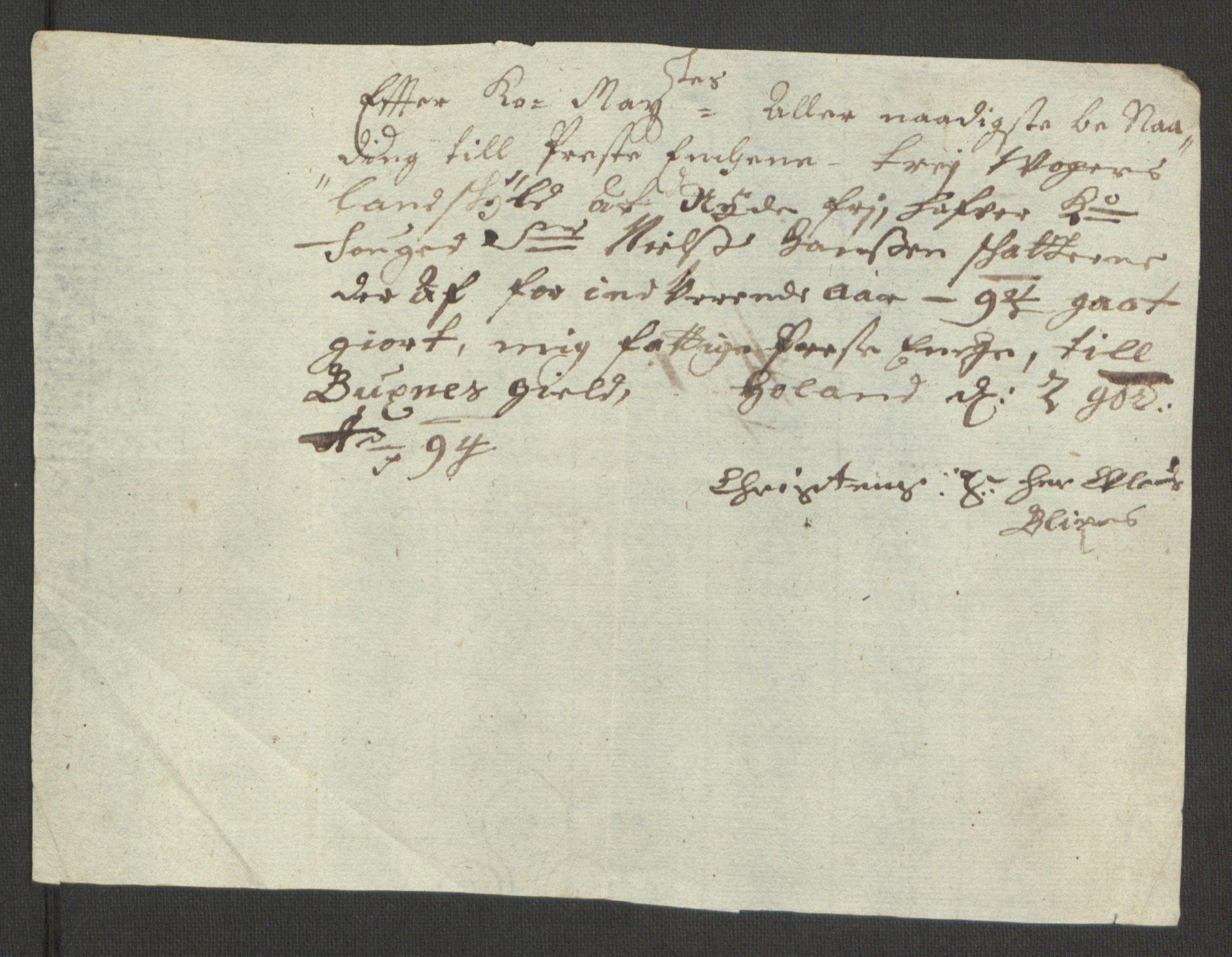 RA, Rentekammeret inntil 1814, Reviderte regnskaper, Fogderegnskap, R67/L4677: Fogderegnskap Vesterålen, Andenes og Lofoten, 1694-1695, s. 155