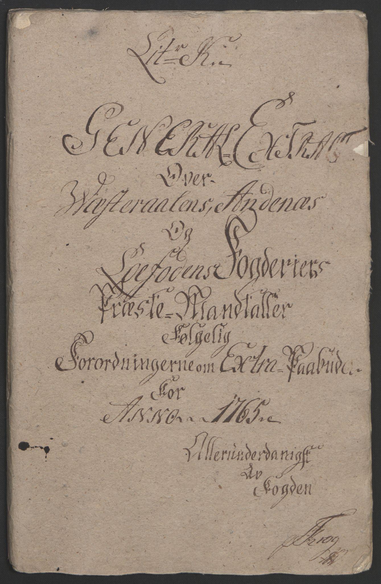 RA, Rentekammeret inntil 1814, Reviderte regnskaper, Fogderegnskap, R67/L4747: Ekstraskatten Vesterålen, Andenes og Lofoten, 1762-1766, s. 355