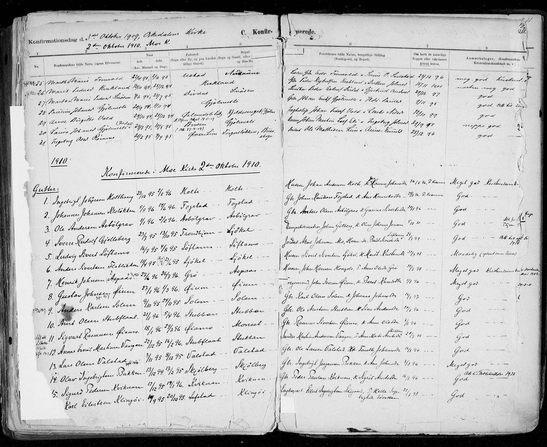 SAT, Ministerialprotokoller, klokkerbøker og fødselsregistre - Sør-Trøndelag, 668/L0811: Ministerialbok nr. 668A11, 1894-1913, s. 310