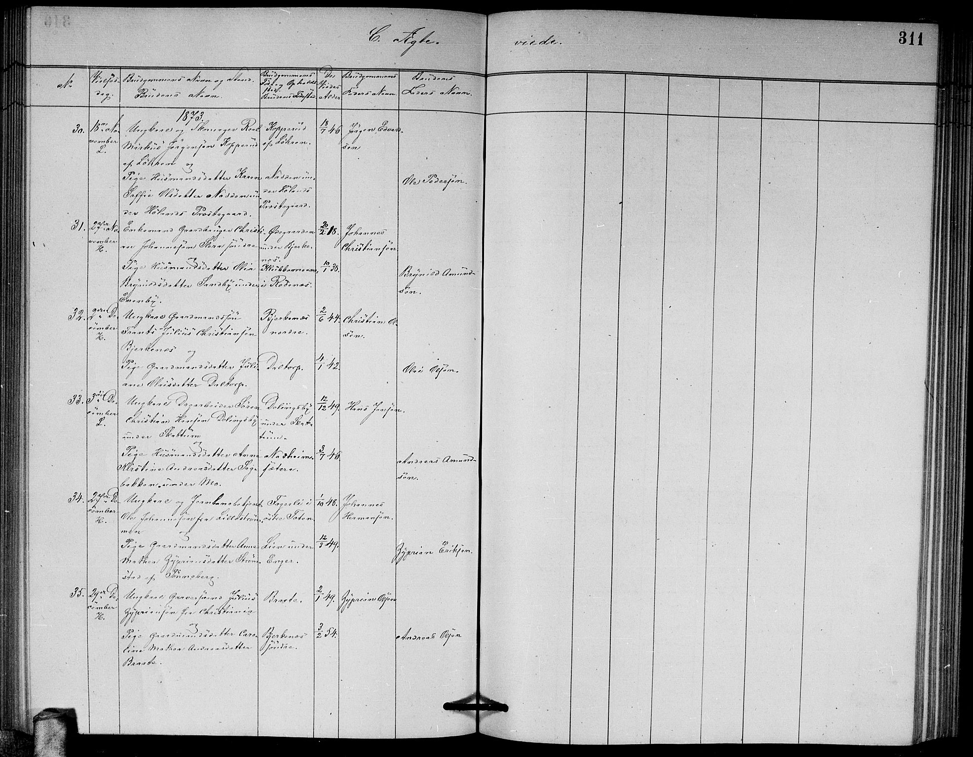 SAO, Høland prestekontor Kirkebøker, G/Ga/L0006: Klokkerbok nr. I 6, 1869-1879, s. 311