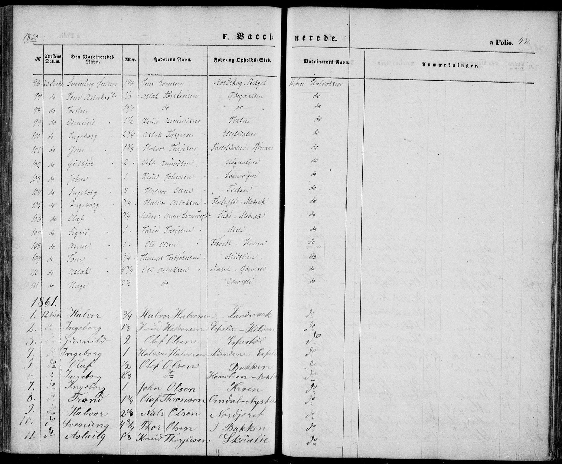 SAKO, Vinje kirkebøker, F/Fa/L0004: Ministerialbok nr. I 4, 1843-1869, s. 431