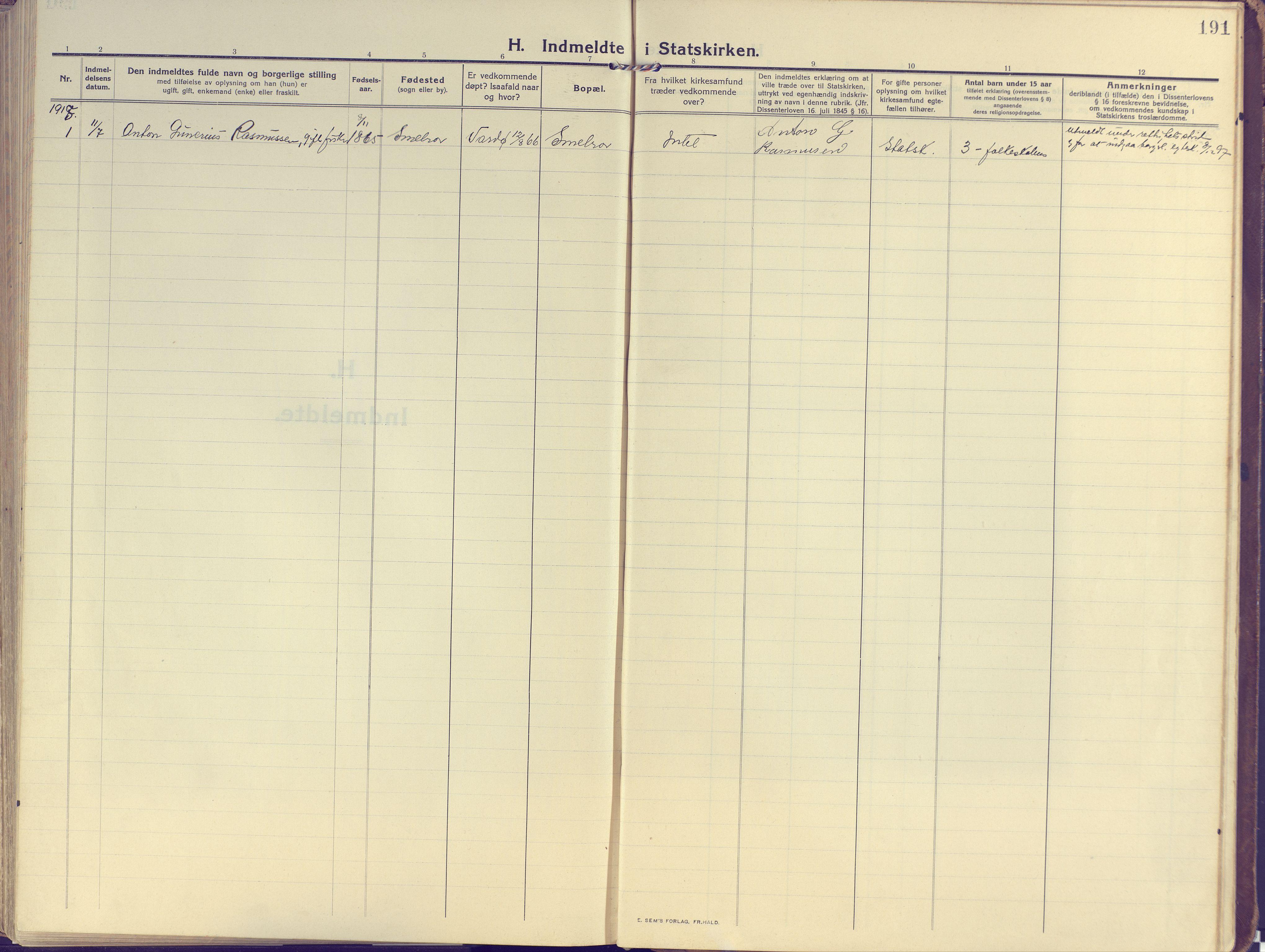 SATØ, Vardø sokneprestkontor, H/Ha/L0013kirke: Ministerialbok nr. 13, 1912-1928, s. 191