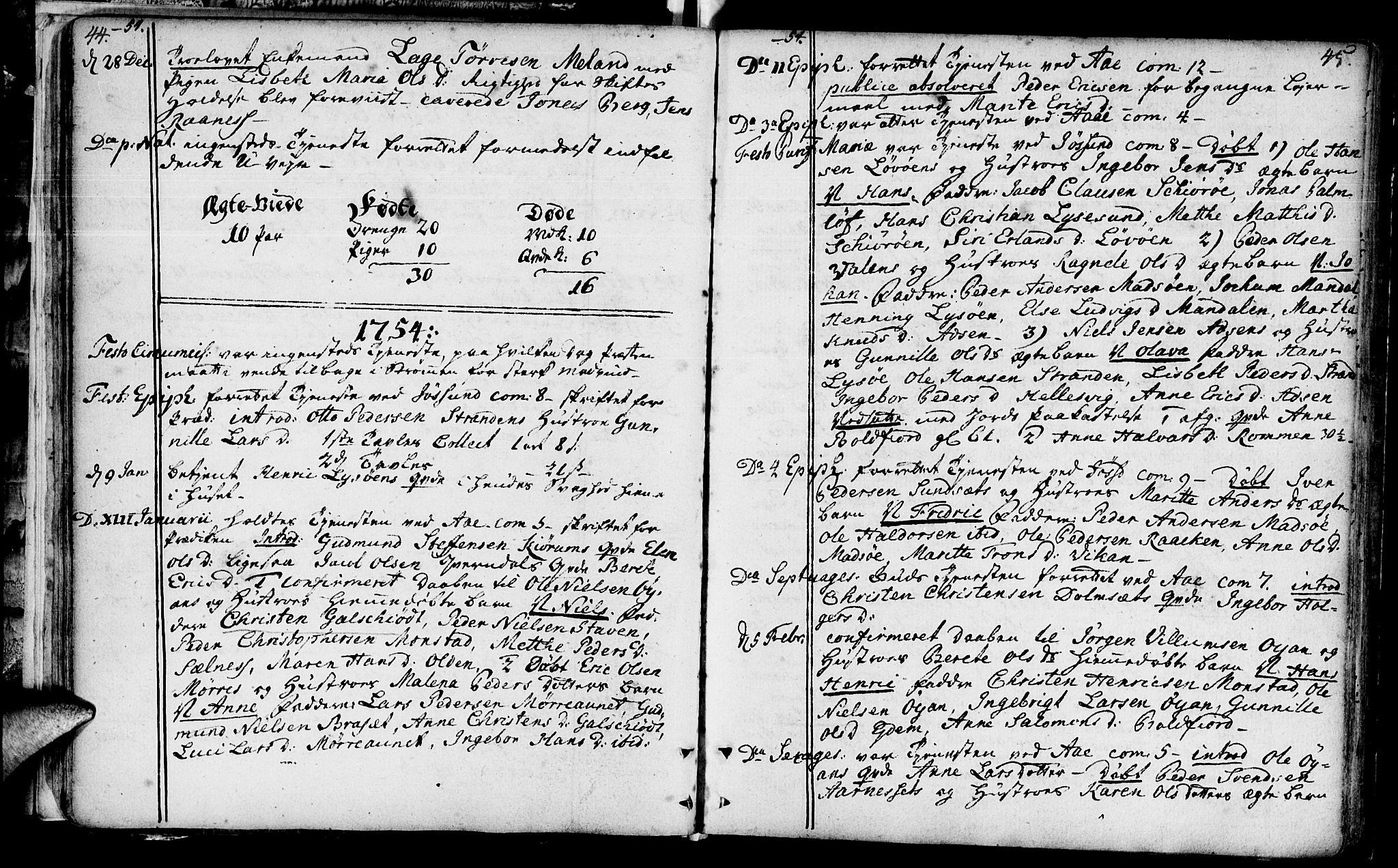 SAT, Ministerialprotokoller, klokkerbøker og fødselsregistre - Sør-Trøndelag, 655/L0672: Ministerialbok nr. 655A01, 1750-1779, s. 44-45