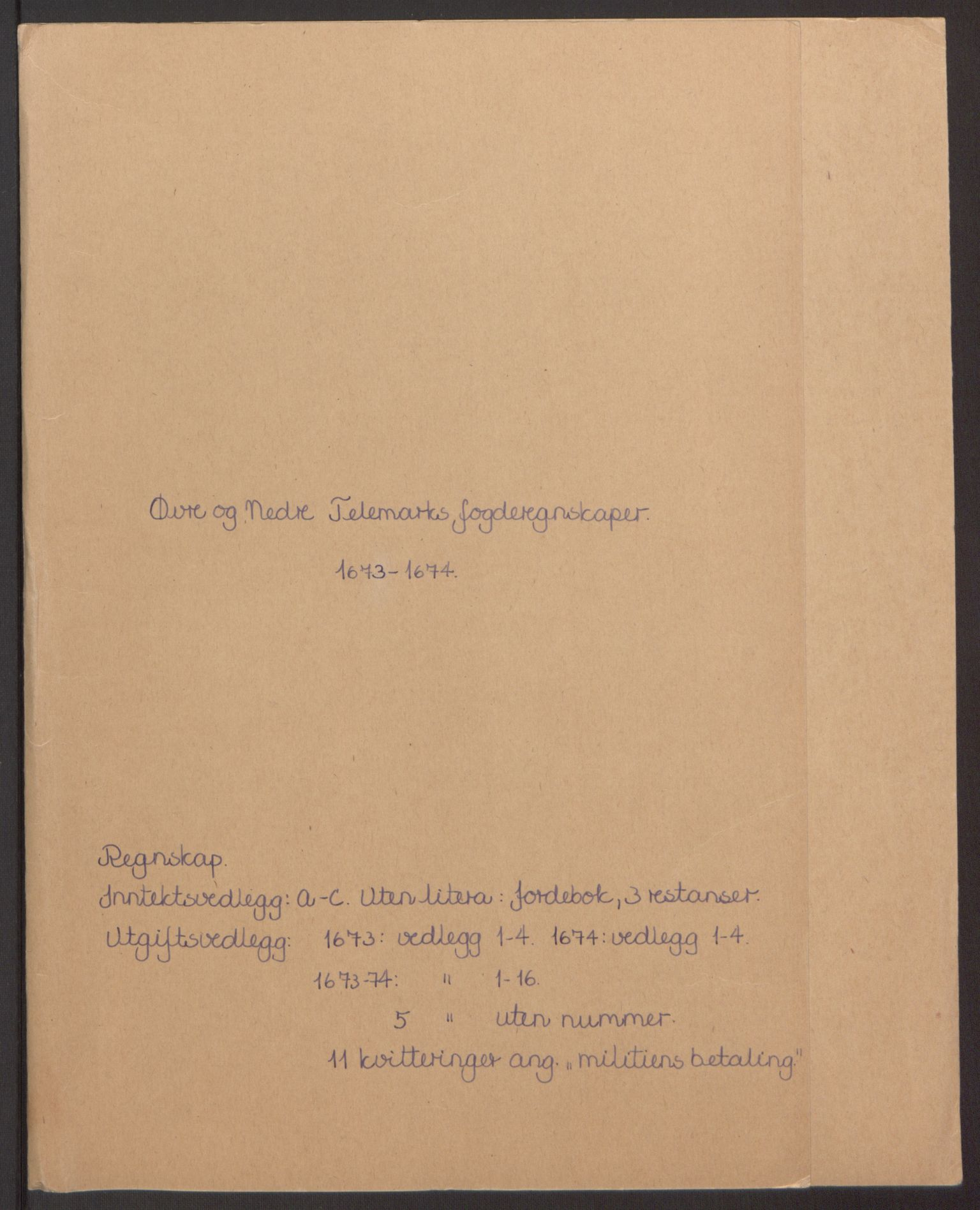 RA, Rentekammeret inntil 1814, Reviderte regnskaper, Fogderegnskap, R35/L2061: Fogderegnskap Øvre og Nedre Telemark, 1673-1674, s. 2